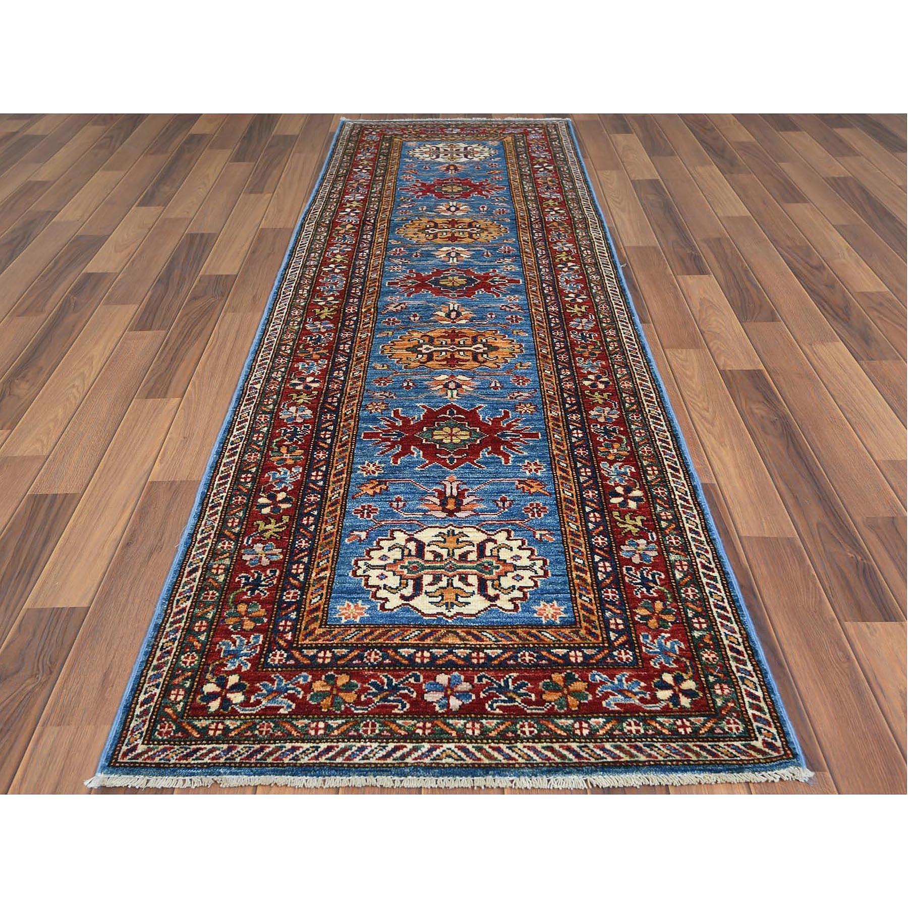 "2'7""x8'6"" Hand Knotted Denim Blue Geometric Design Super Kazak luxurious Wool Oriental Runner Rug"