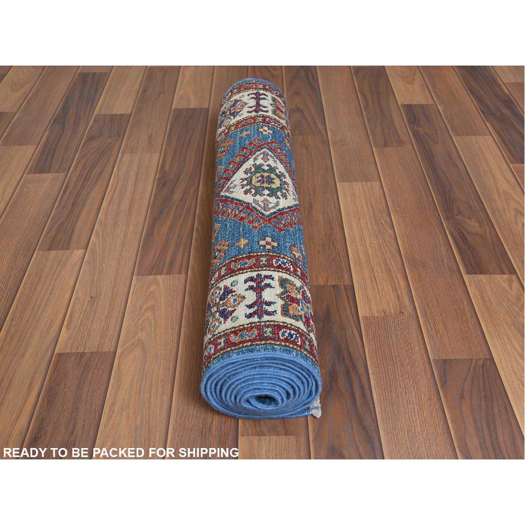 "2'7""x8'8"" Pure Afghan Wool Super Kazak Denim Blue Tribal Design Hand Knotted Oriental Runner Rug"