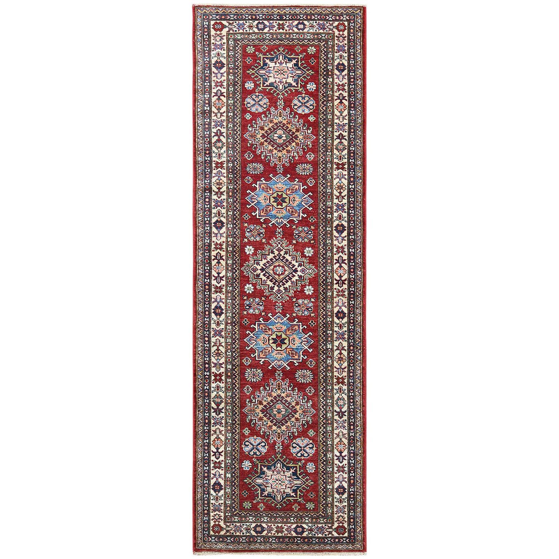 "2'7""x8'1"" Red Super Kazak With Geometric Design Glimmery Wool Hand Knotted Oriental Runner Rug"