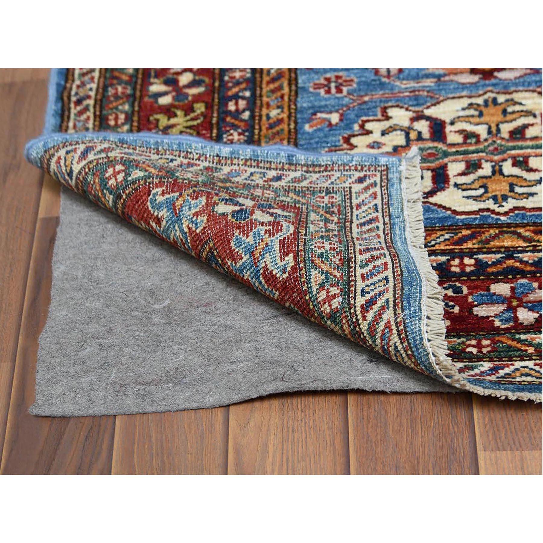 "2'7""x8'5"" Blue Super Kazak Nomadic Design Herbal Wash Vibrant Wool Hand Knotted Oriental Runner Rug"