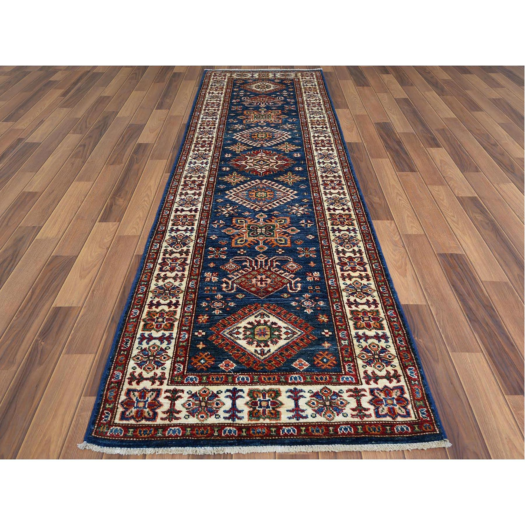 "2'7""x8'6"" Navy Blue Super Kazak With Tribal Design, Soft To The Touch Wool Pile Hand Knotted Oriental Runner Rug"
