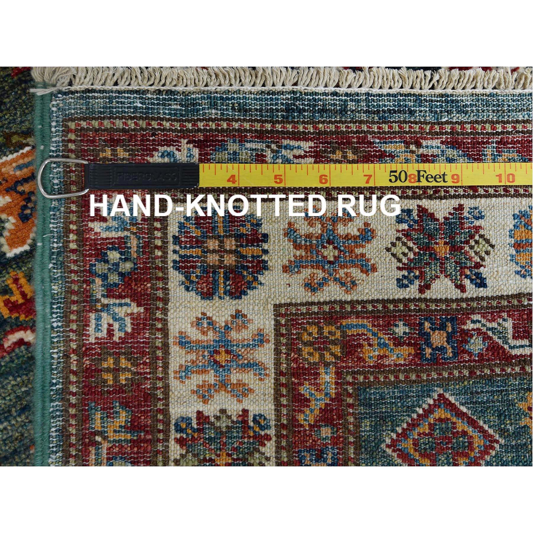 "2'9""x9'8"" Green Super Kazak With Tribal Design Luxurious Wool Hand Knotted Oriental Runner Rug"