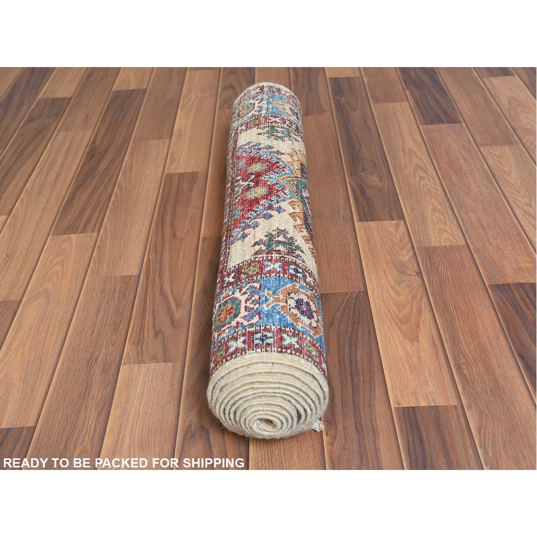 "2'7""x9' Ivory Super Kazak In A Colorful Palette With Tribal Design Organic Wool Hand Knotted Oriental Runner Rug"