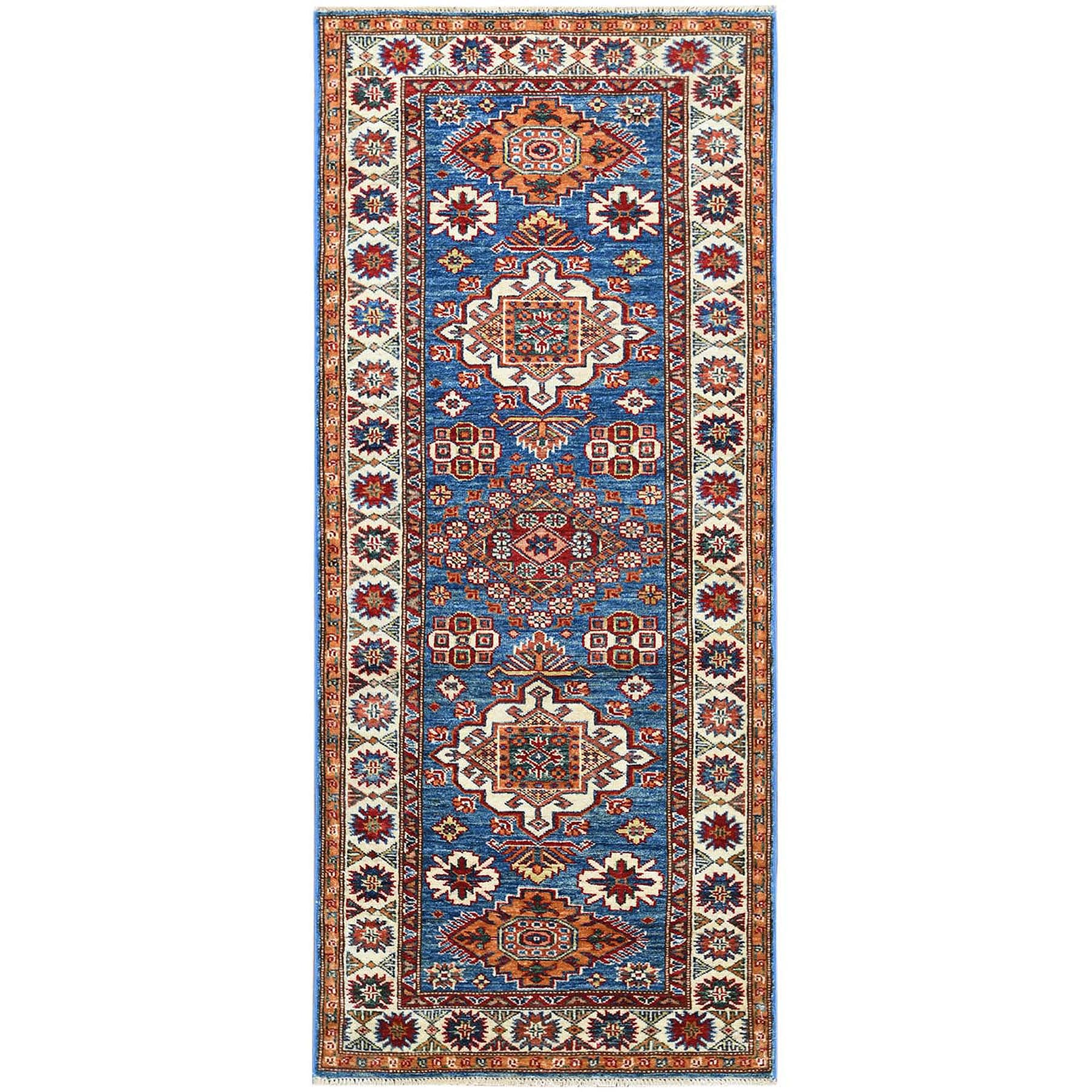 """2'8""""x6'3"""" Blue Super Kazak In A Colorful Palette With Nomadic Design Organic Wool Hand Knotted Oriental Runner Rug"""