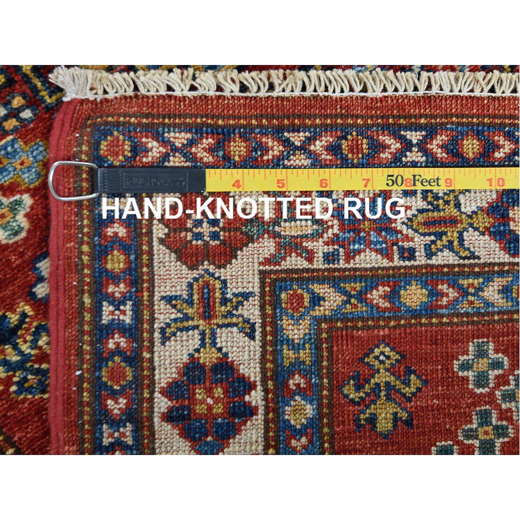"2'6""x6'6"" Red Super Kazak With Tribal Design Soft Velvety Wool Hand Knotted Oriental Runner Rug"