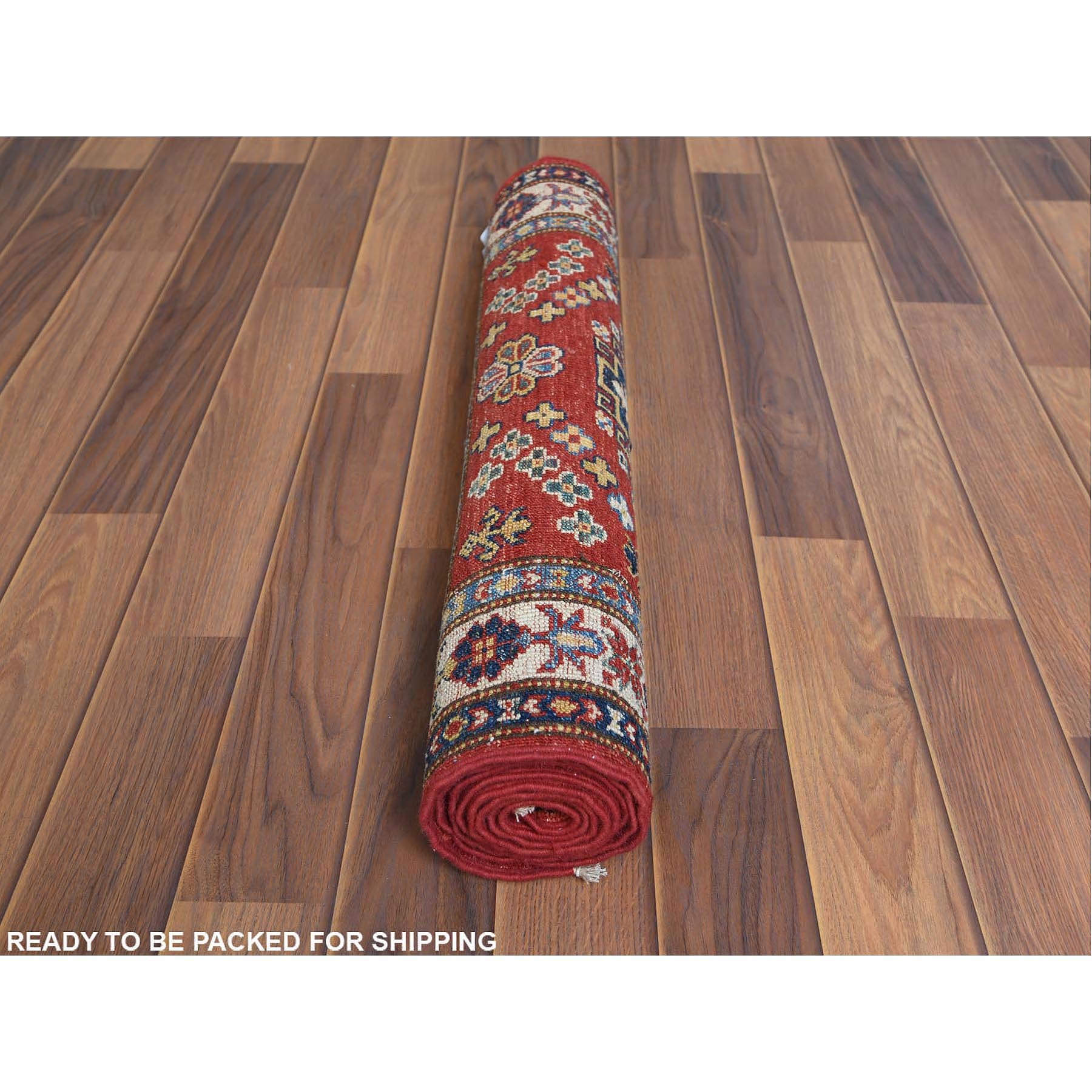 """2'4""""x6'6"""" Red Super Kazak With Geometric Design Pure Wool Hand Knotted Oriental Runner Rug"""