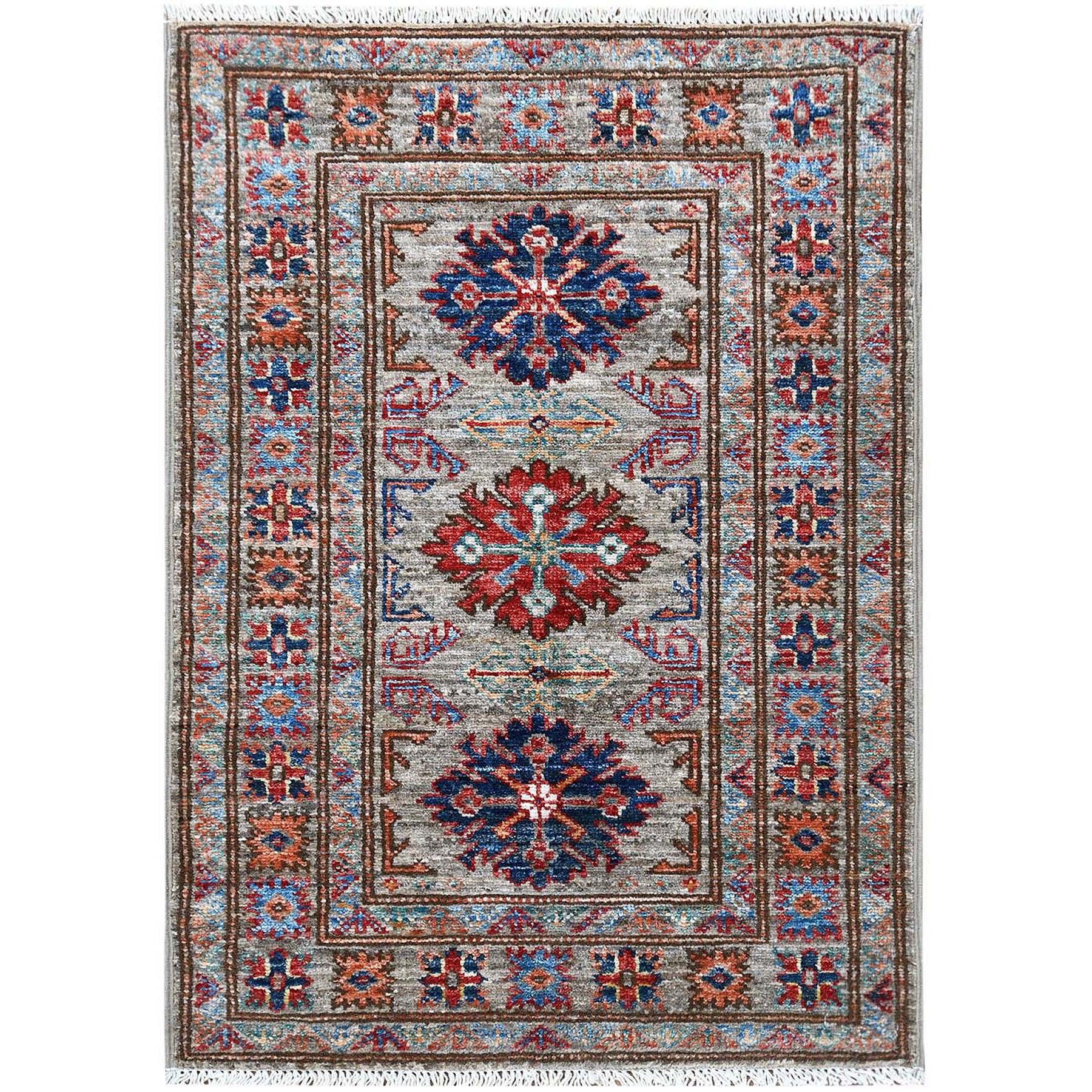 "2'x3'1"" Gray Super Kazak With Geometric Design Natural Wool Hand Knotted Oriental Rug"