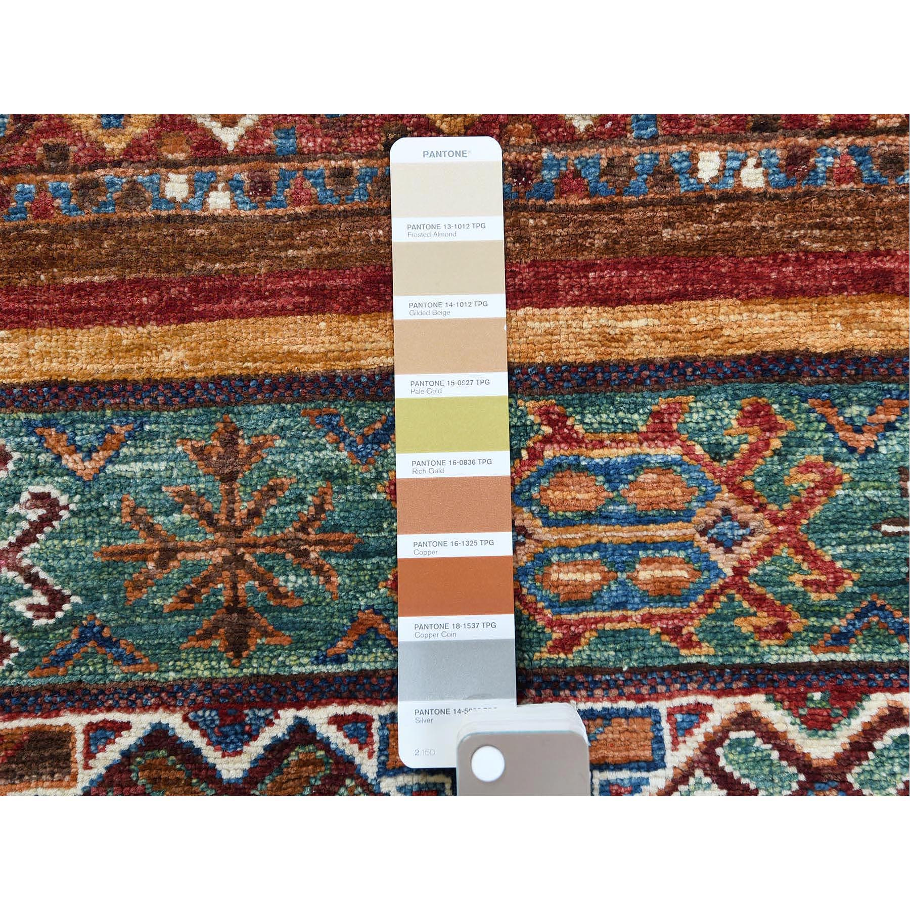 """2'8""""x4' Colorful Super Kazak With Vibrant Sheen Khorjin Design Glimmery Wool Hand Knotted Oriental Rug"""