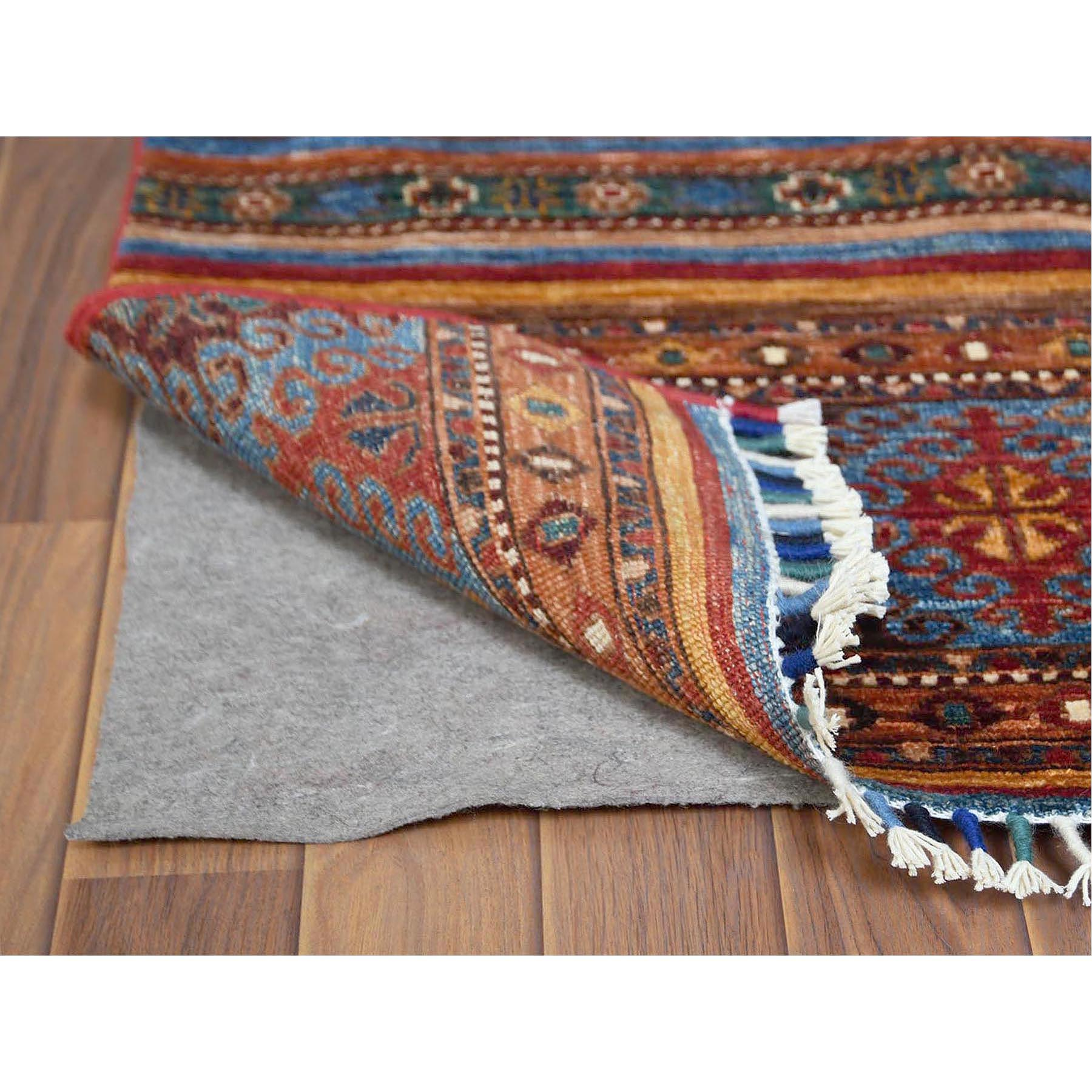 """3'5""""x5' Colorful Super Kazak Khorjin Design With Colorful Tassles Pure Afghan Wool Hand Knotted Ethnic Oriental Rug"""