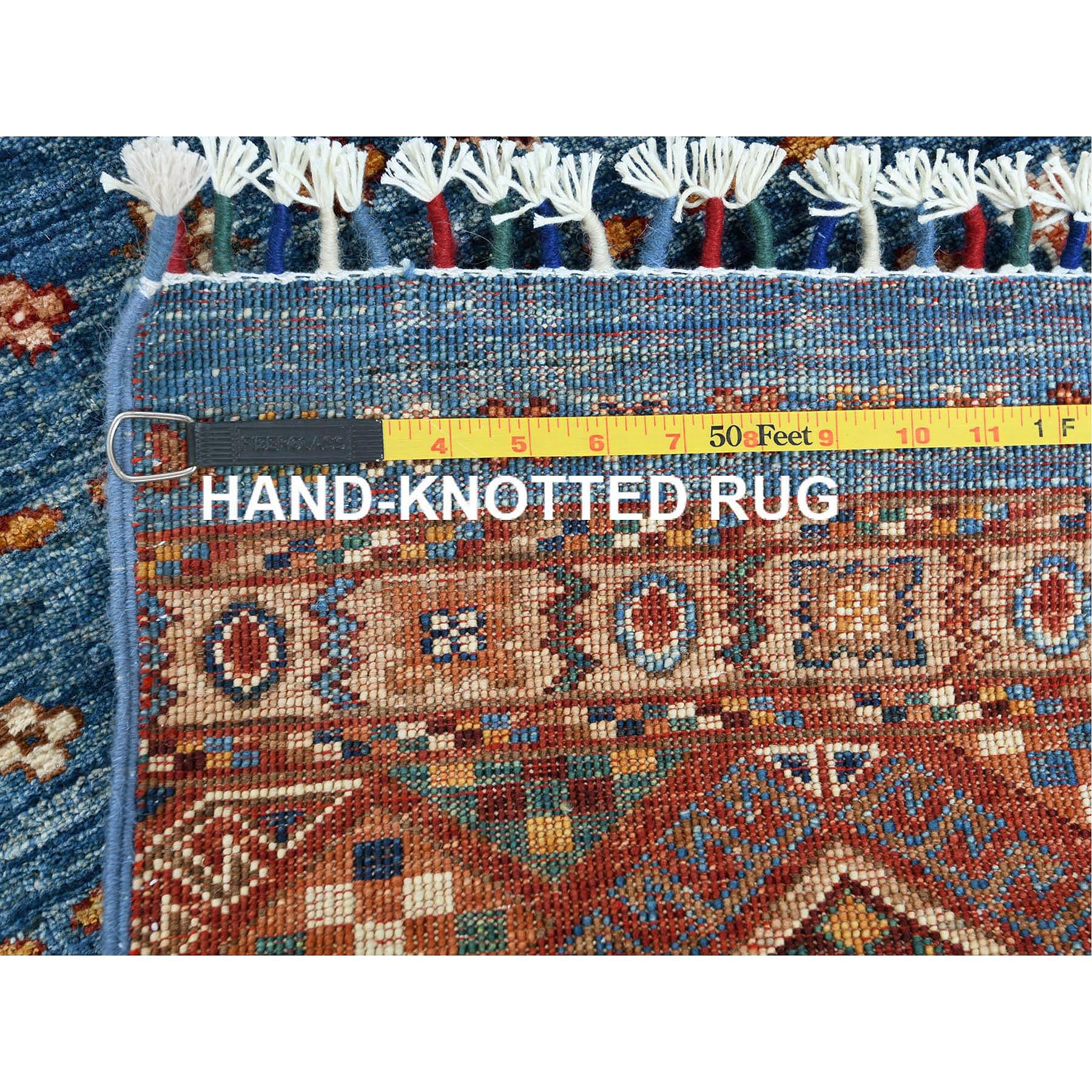 """3'3""""x5' Blue Super Kazak Khorjin And Tribal Design With Colorful Tassles Shiny Wool Hand Knotted Oriental Rug"""