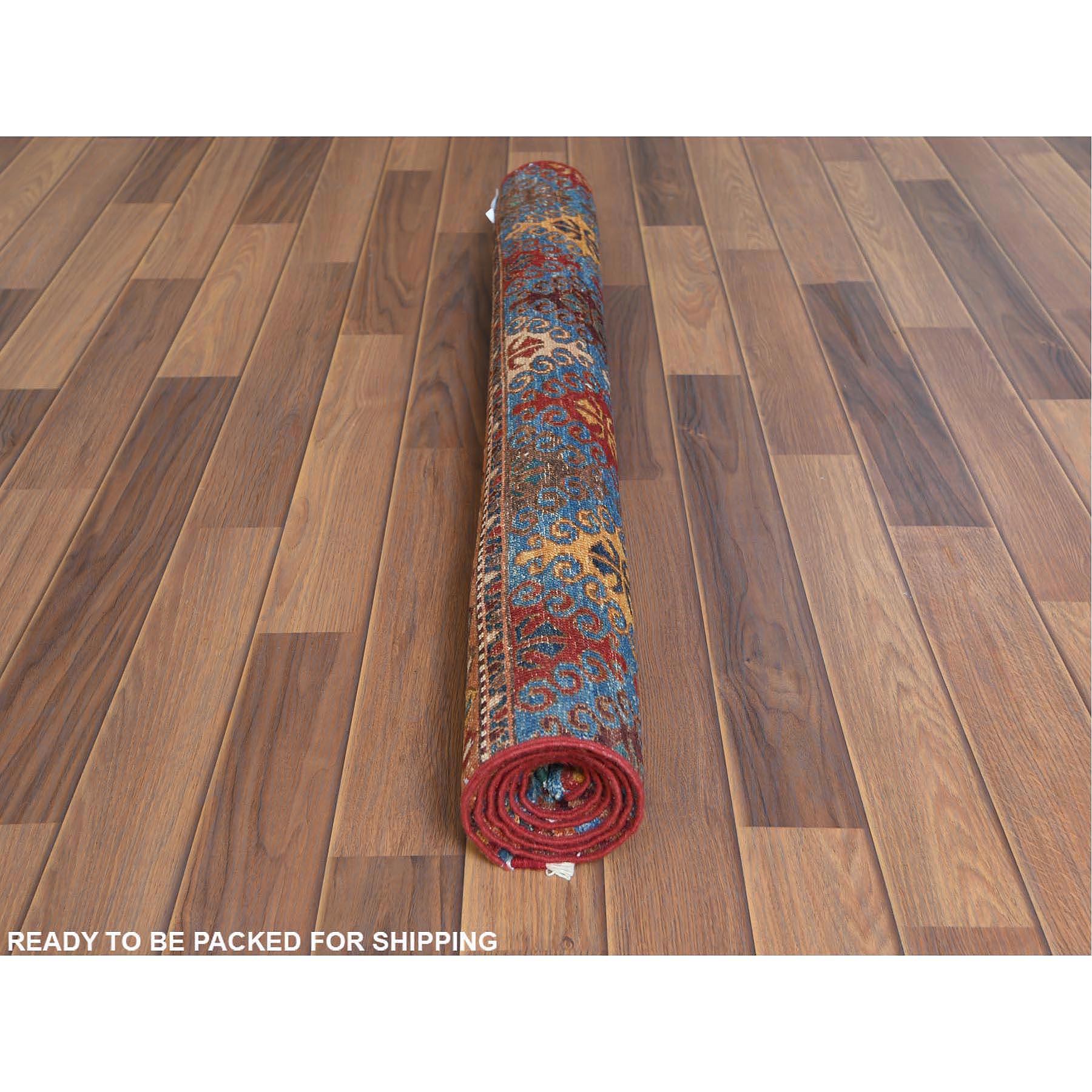 "3'6""x4'10"" Red Super Kazak With Pop Of Various Colors Khorjin Design Hand Spun Wool Hand Knotted Oriental Rug"