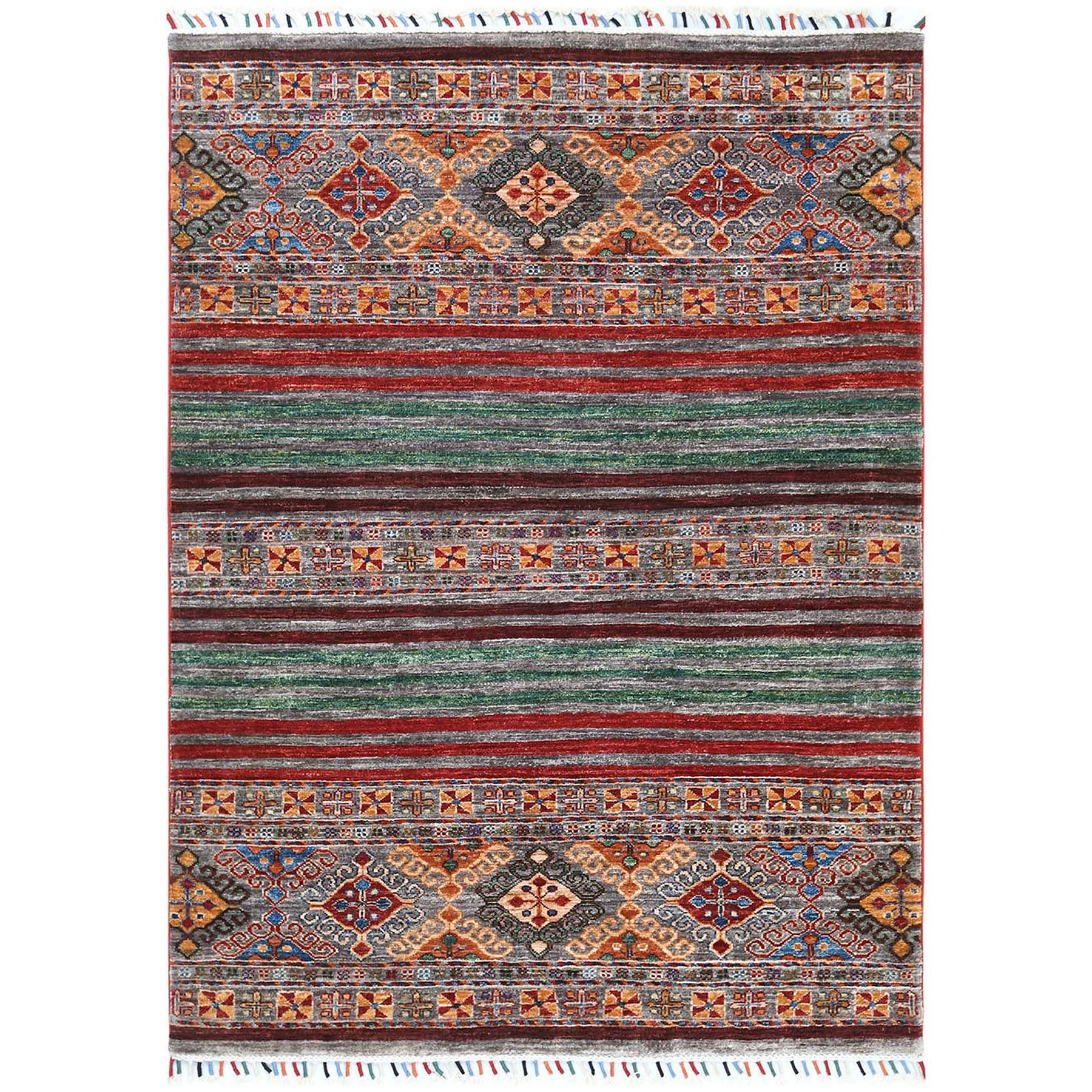 "4'3""x5'9"" Gray Super Kazak Khorjin Design With Colorful Tassles Soft And Supple Wool Hand Knotted Oriental Rug"