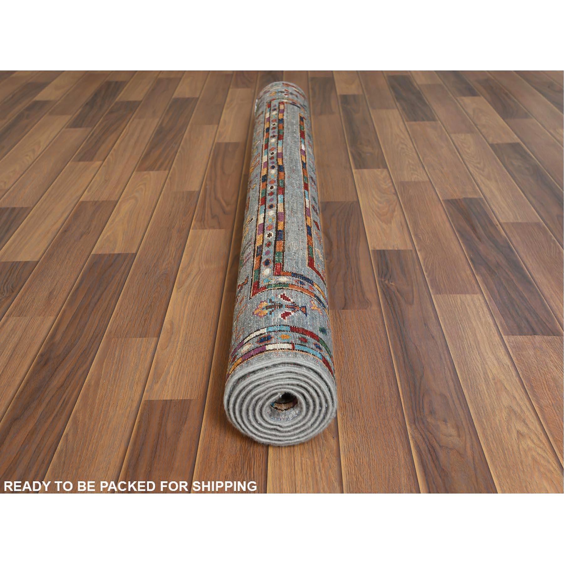 "4'2""x6'5"" Gray Super Kazak With Kashkuli And Animals Design Velvety Wool Hand Knotted Ethnic Oriental Rug"