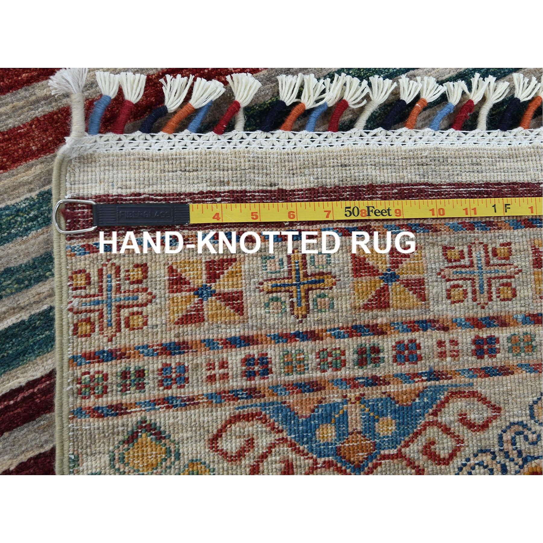 "4'3""x5'9"" Gray Super Kazak In A Colorful Palette Khorjin Design Soft To The Touch Wool Pile Hand Knotted Oriental Rug"