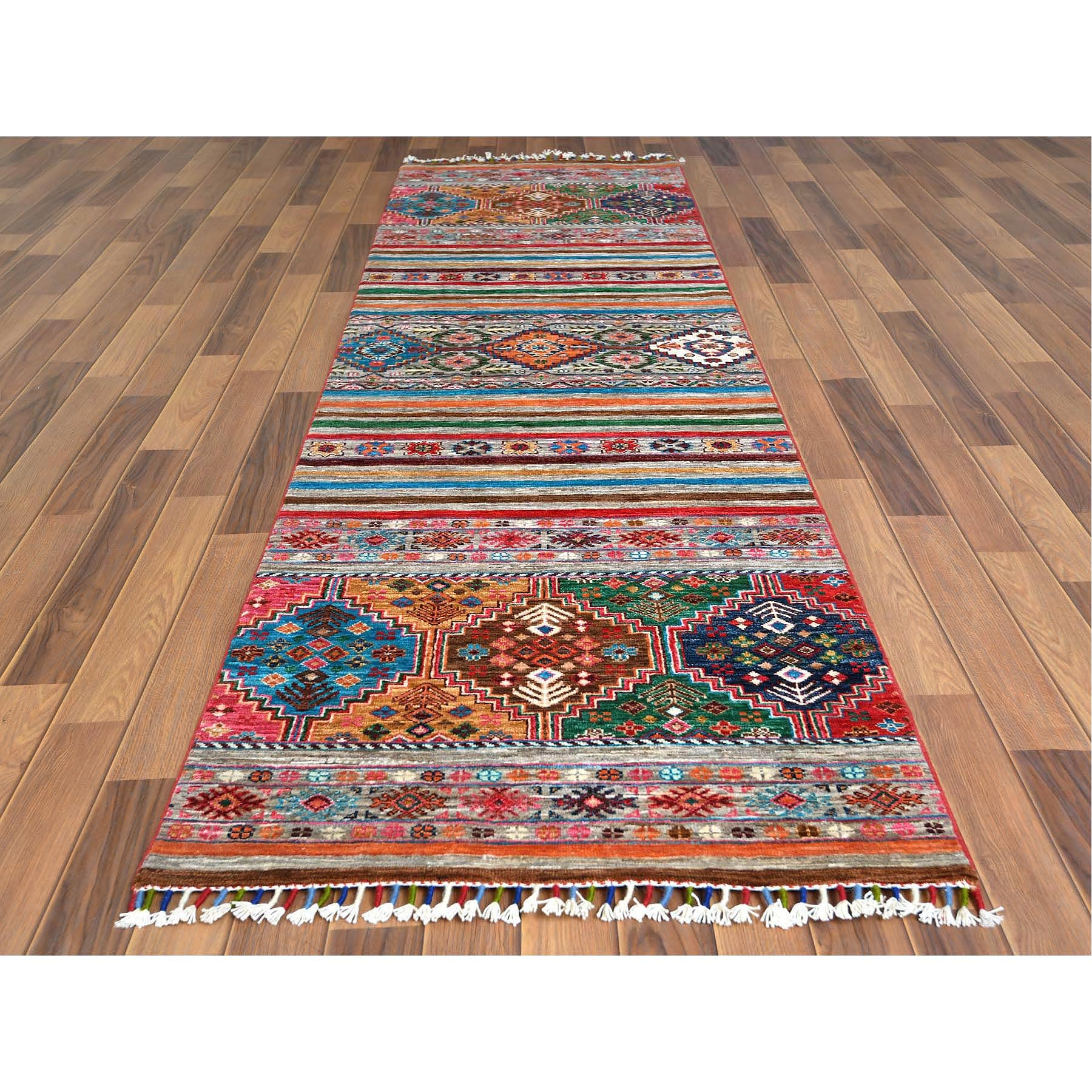"2'9""x9'8"" Colorful Super Kazak Khorjin Design With Colorful Tassles Vibrant Wool Hand Knotted Oriental Runner Rug"