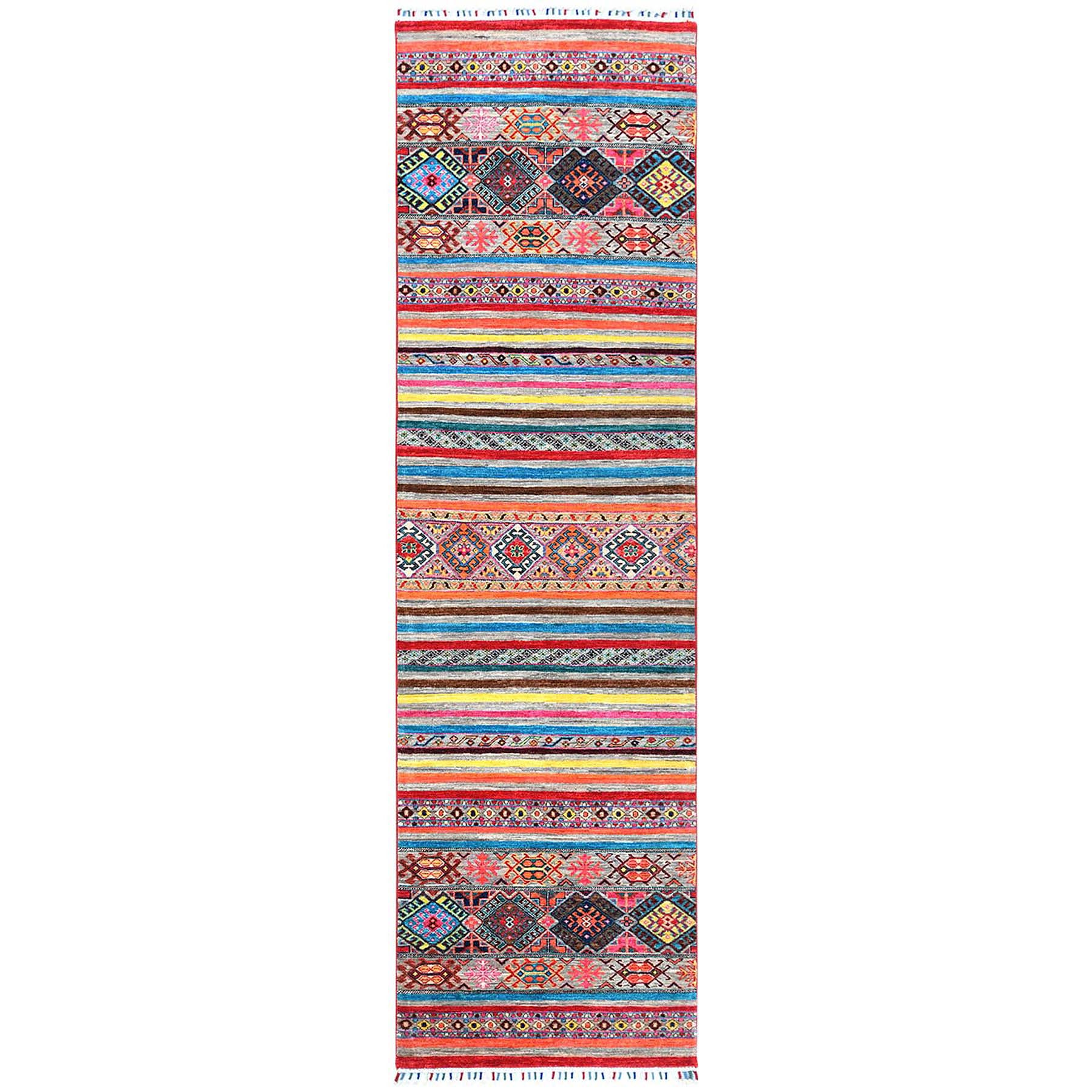 """2'9""""x9'9"""" Gray Super Kazak With Pop Of Various Colors Khorjin Design Glimmery Wool Hand Knotted Oriental Runner Rug"""
