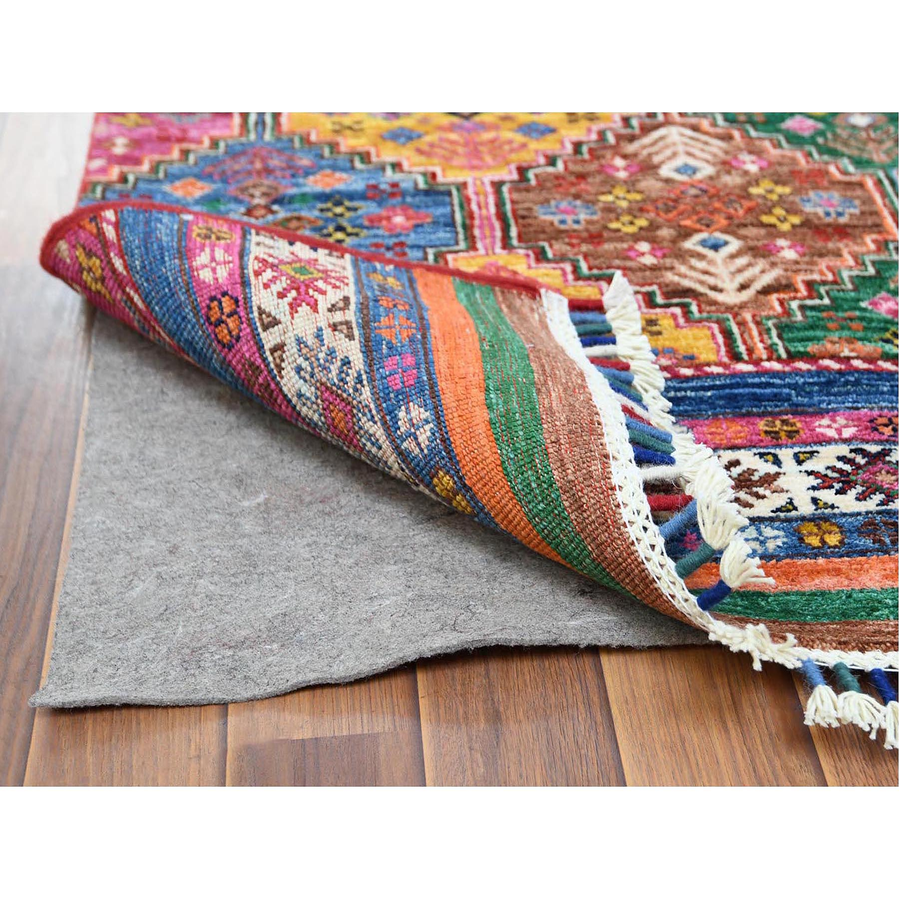 """2'9""""x9'9"""" Red Super Kazak In A Colorful Palette Khorjin Design Pure Afghan Wool Hand Knotted Oriental Runner Rug"""