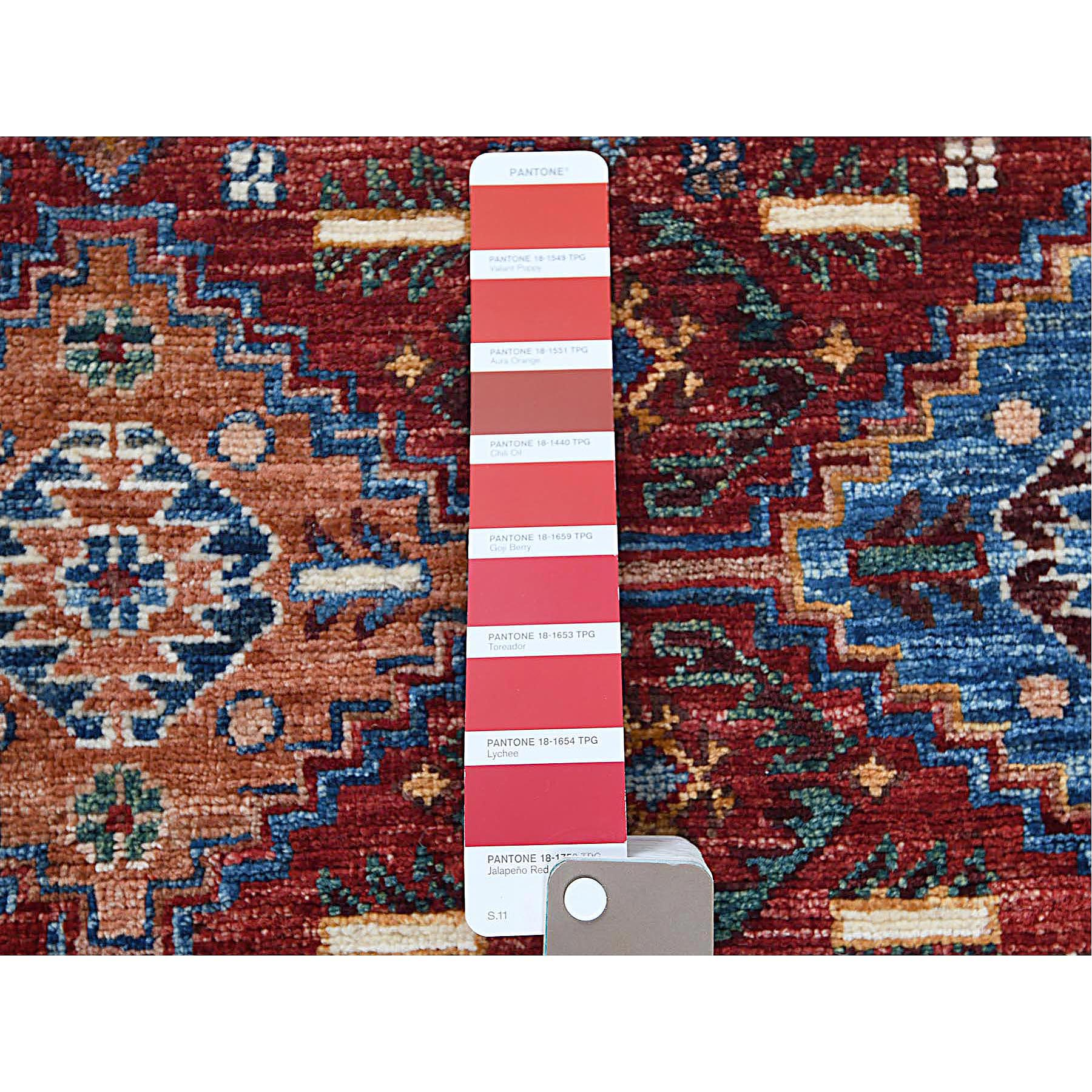 """2'9""""x10'1"""" Red Super Kazak With Vibrant Color Shades Khorjin Design Shiny Wool Hand Knotted Oriental Runner Rug"""