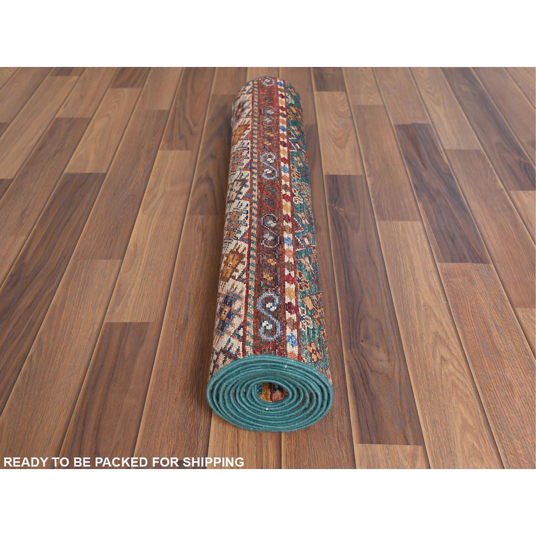 "2'7""x8'4"" Colorful Super Kazak Khorjin And Tribal Design Organic Wool Hand Knotted Oriental Runner Rug"