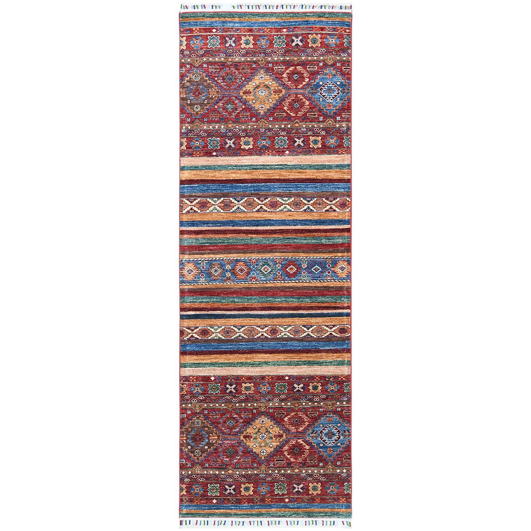 "2'8""x8'1"" Red Super Kazak Khorjin Design With Colorful Tassles Soft Velvety Wool Hand Knotted Oriental Runner Rug"