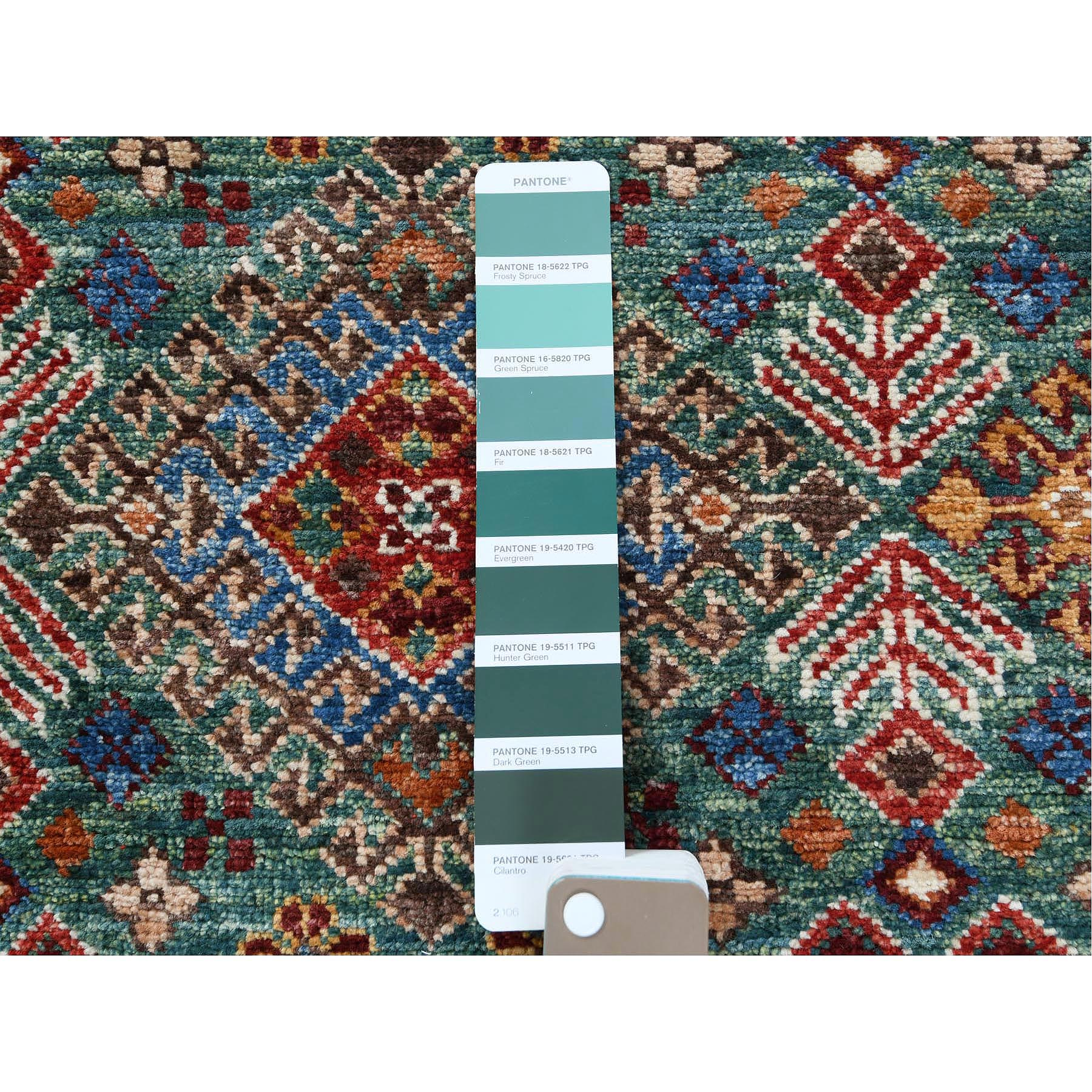 "2'7""x8'8"" Colorful Super Kazak Khorjin And Primitive Design Vibrant Wool Hand Knotted Oriental Runner Rug"