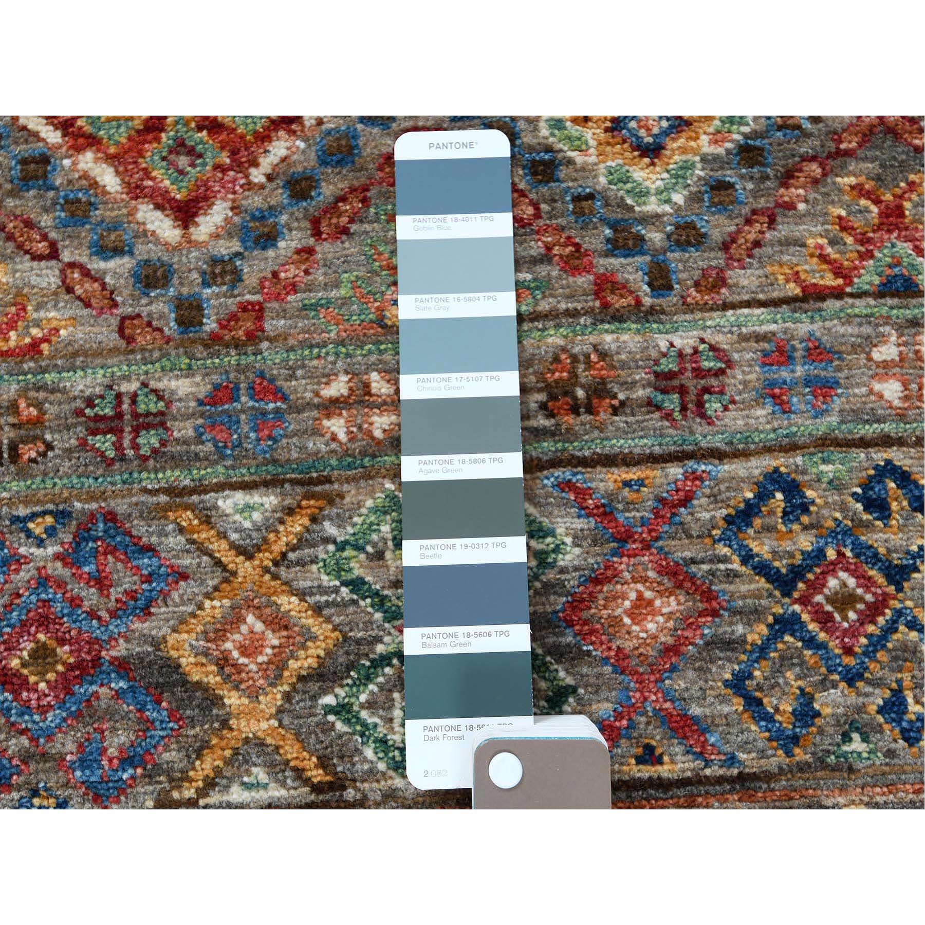 "2'9""x8'9"" Gray Super Kazak Khorjin Design With Colorful Tassles Natural Wool Hand Knotted Oriental Runner Rug"