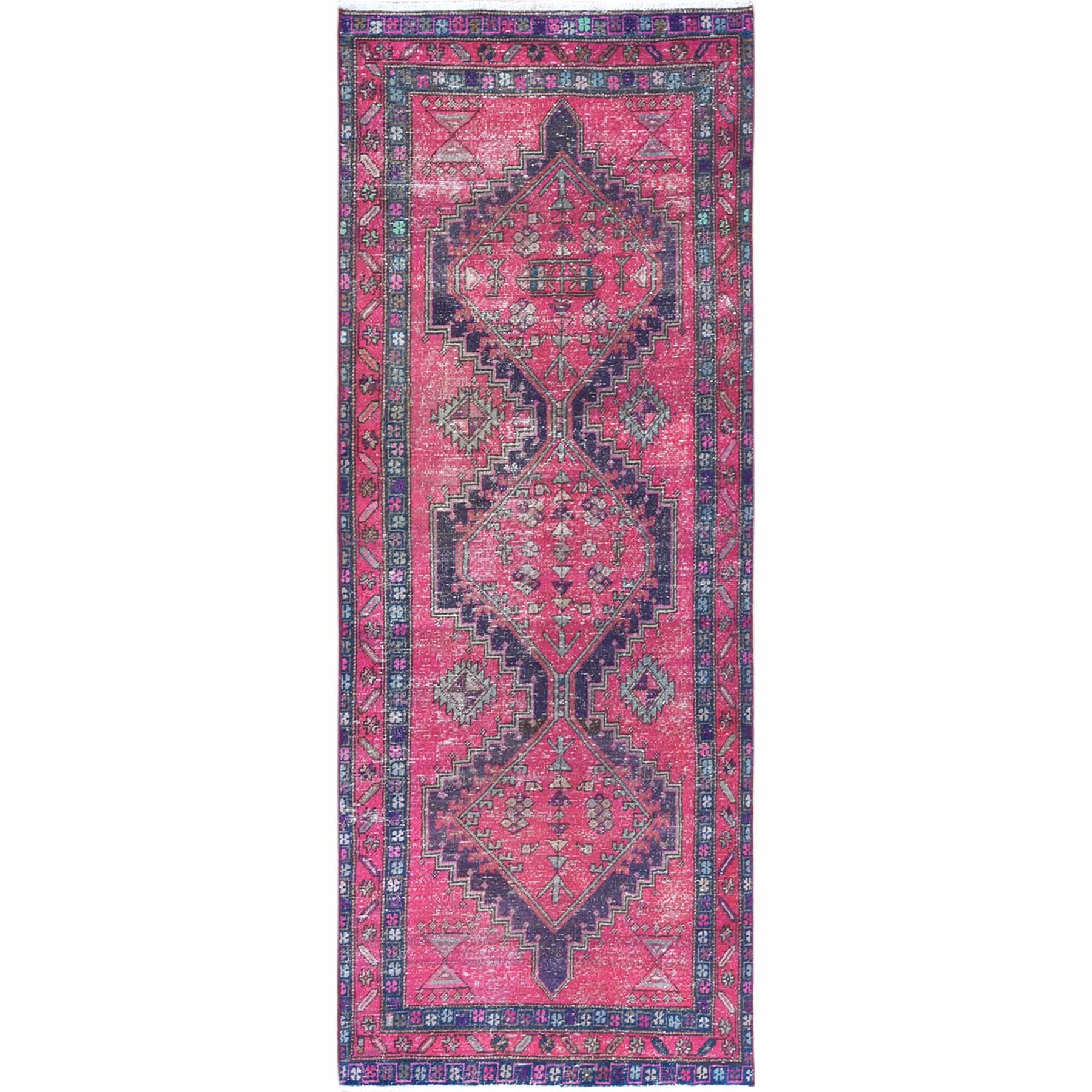 Fetneh Collection And Vintage Overdyed Collection Hand Knotted Pink Rug No: 1121968