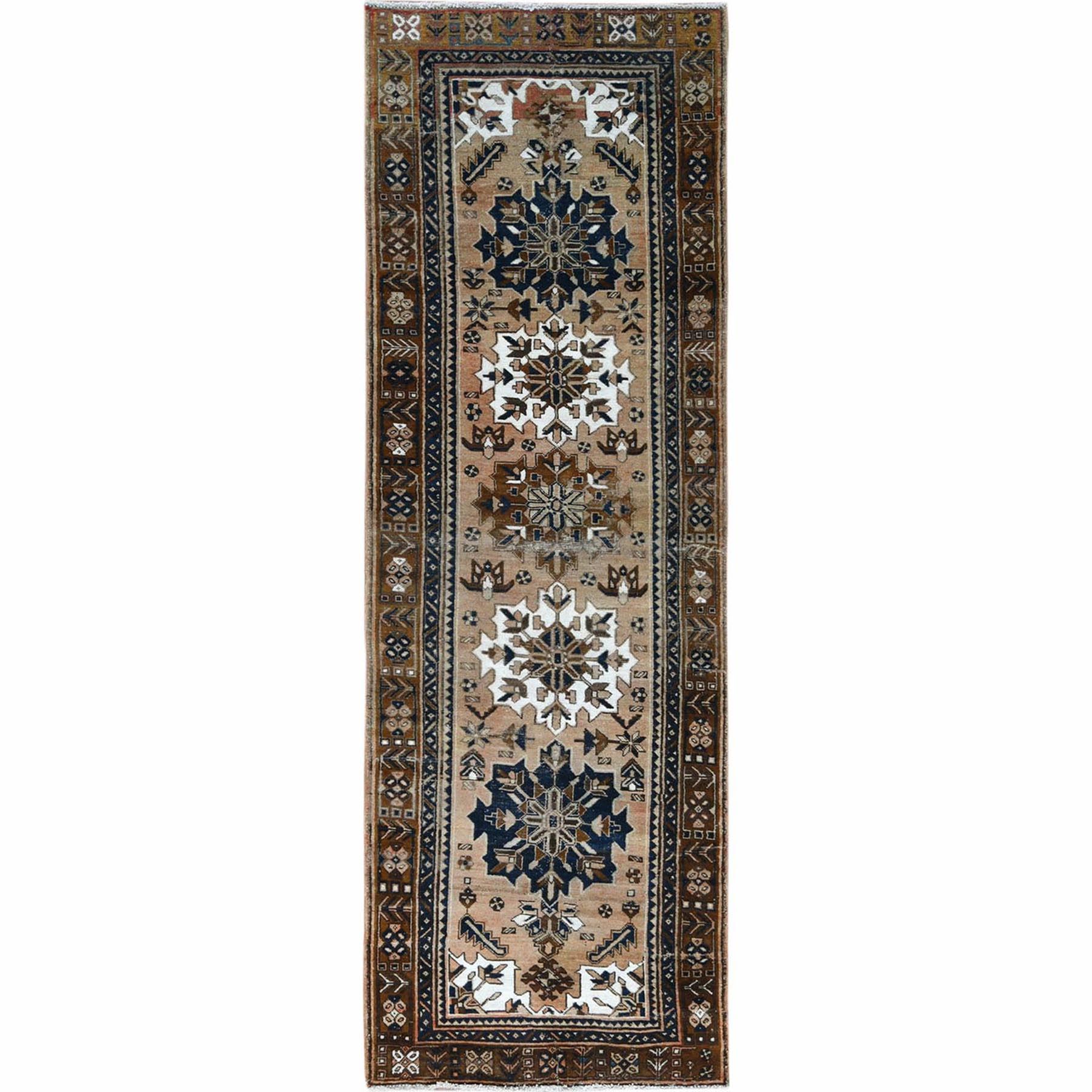 Fetneh Collection And Vintage Overdyed Collection Hand Knotted Brown Rug No: 1121982
