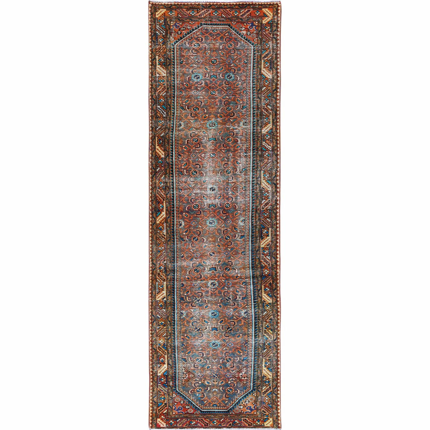 Fetneh Collection And Vintage Overdyed Collection Hand Knotted Orange Rug No: 1121992