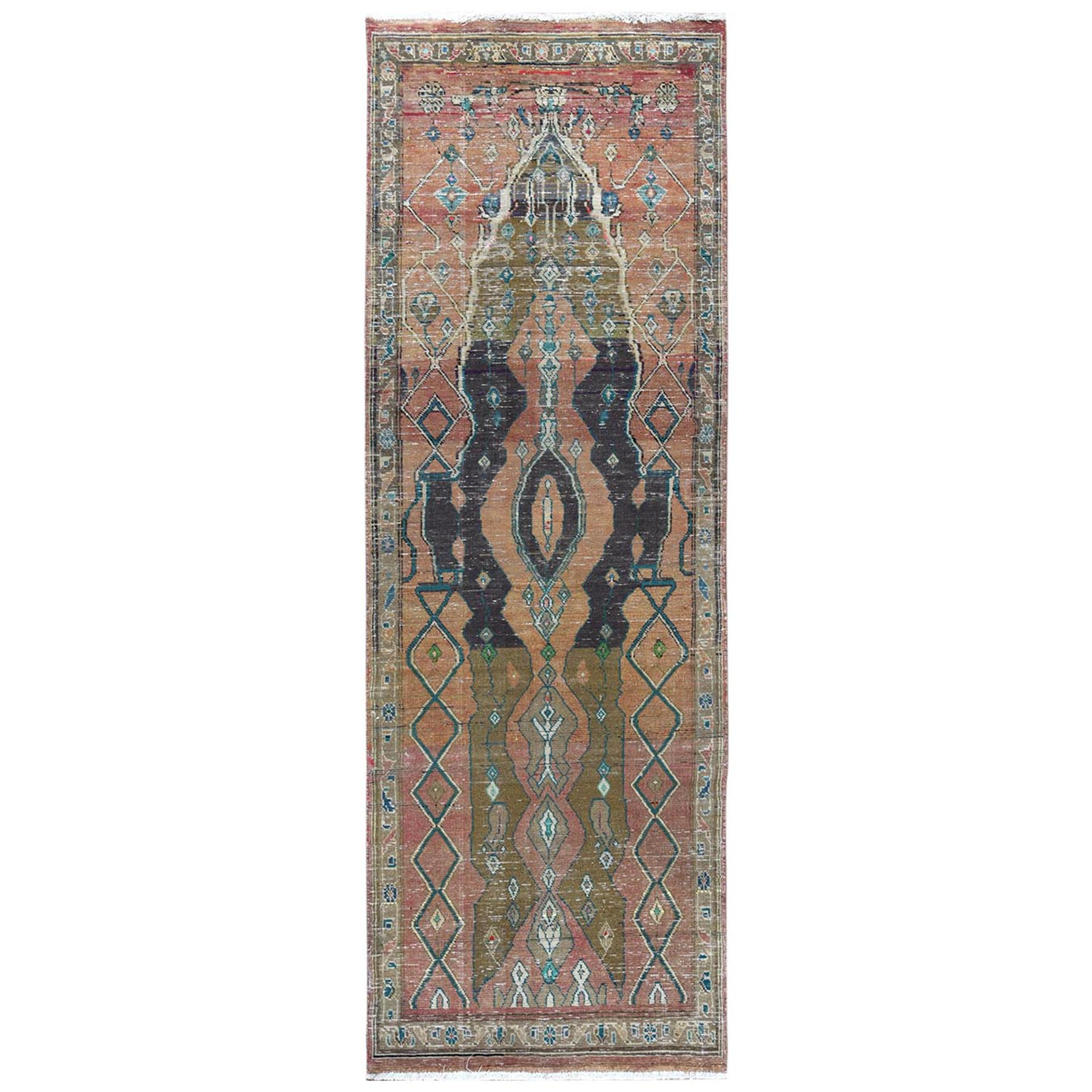 Fetneh Collection And Vintage Overdyed Collection Hand Knotted Orange Rug No: 1122008