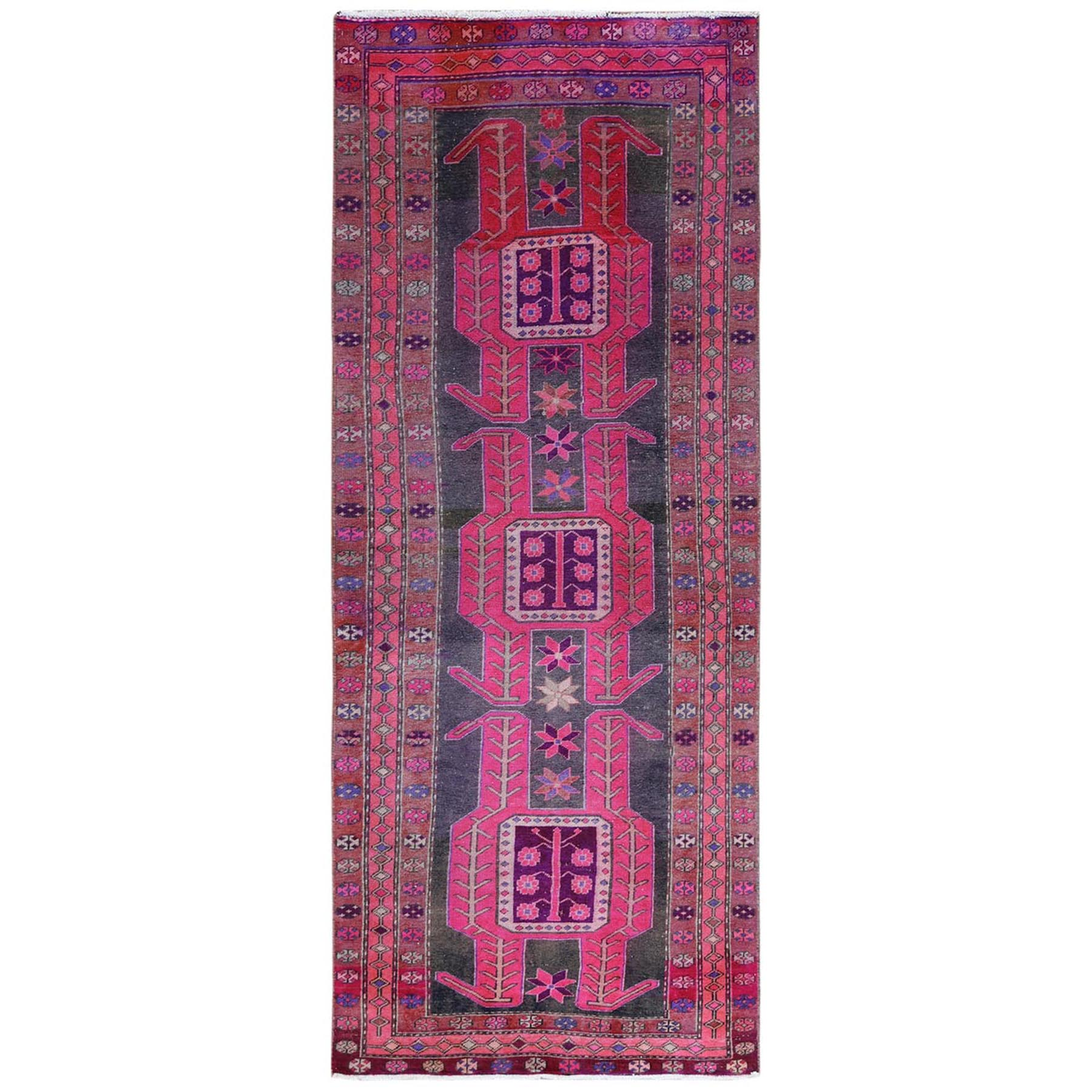 Fetneh Collection And Vintage Overdyed Collection Hand Knotted Pink Rug No: 1122060