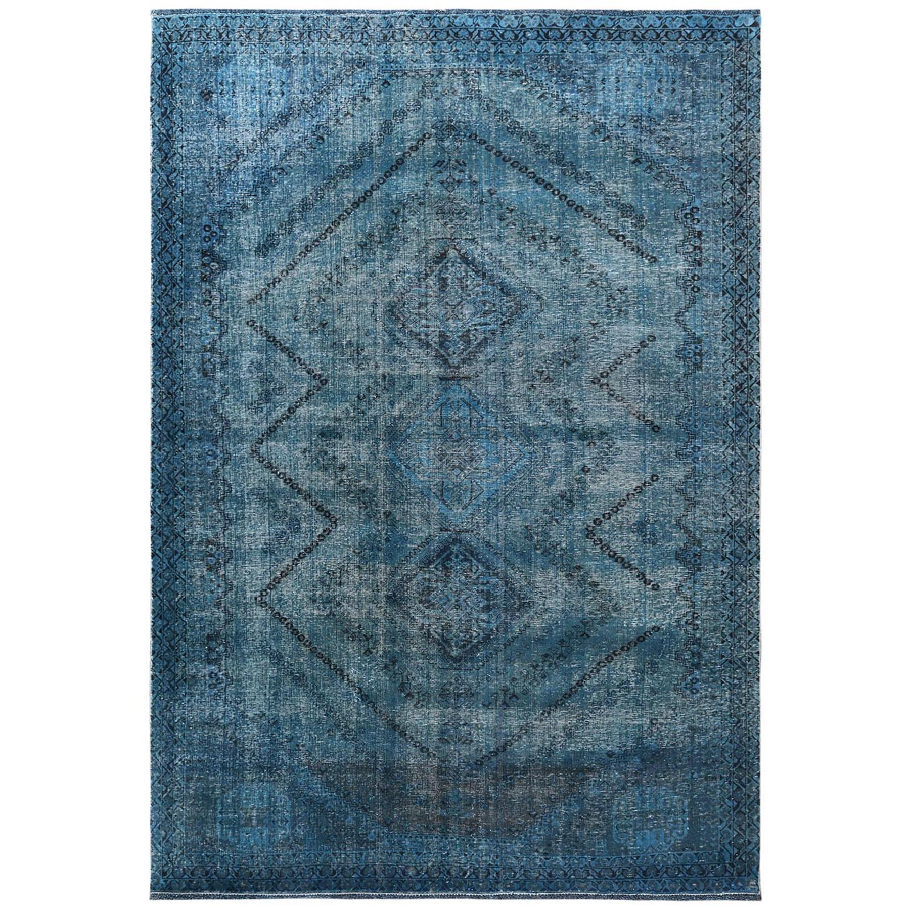 Fetneh Collection And Vintage Overdyed Collection Hand Knotted Teal Rug No: 1122122