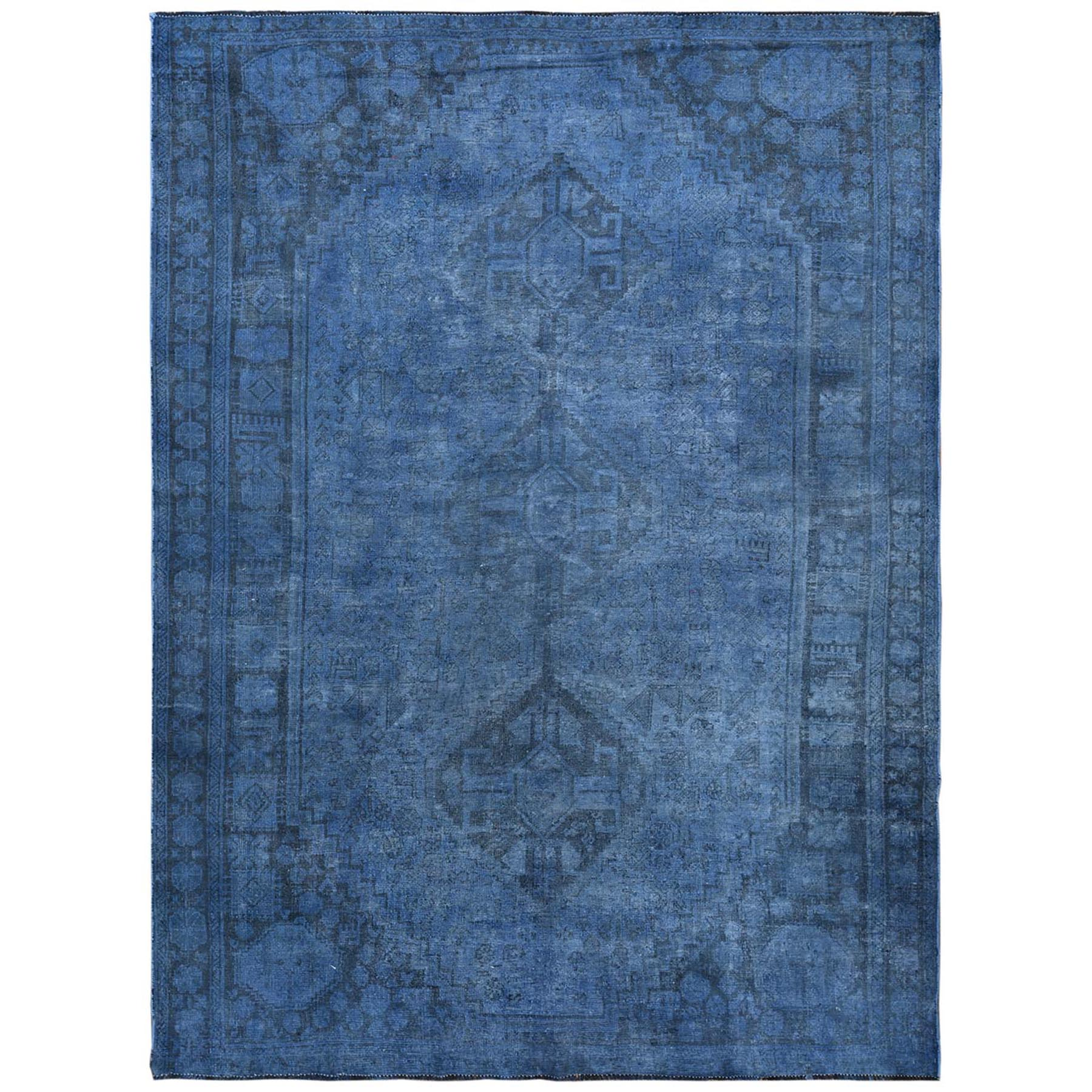 Fetneh Collection And Vintage Overdyed Collection Hand Knotted Blue Rug No: 1122126