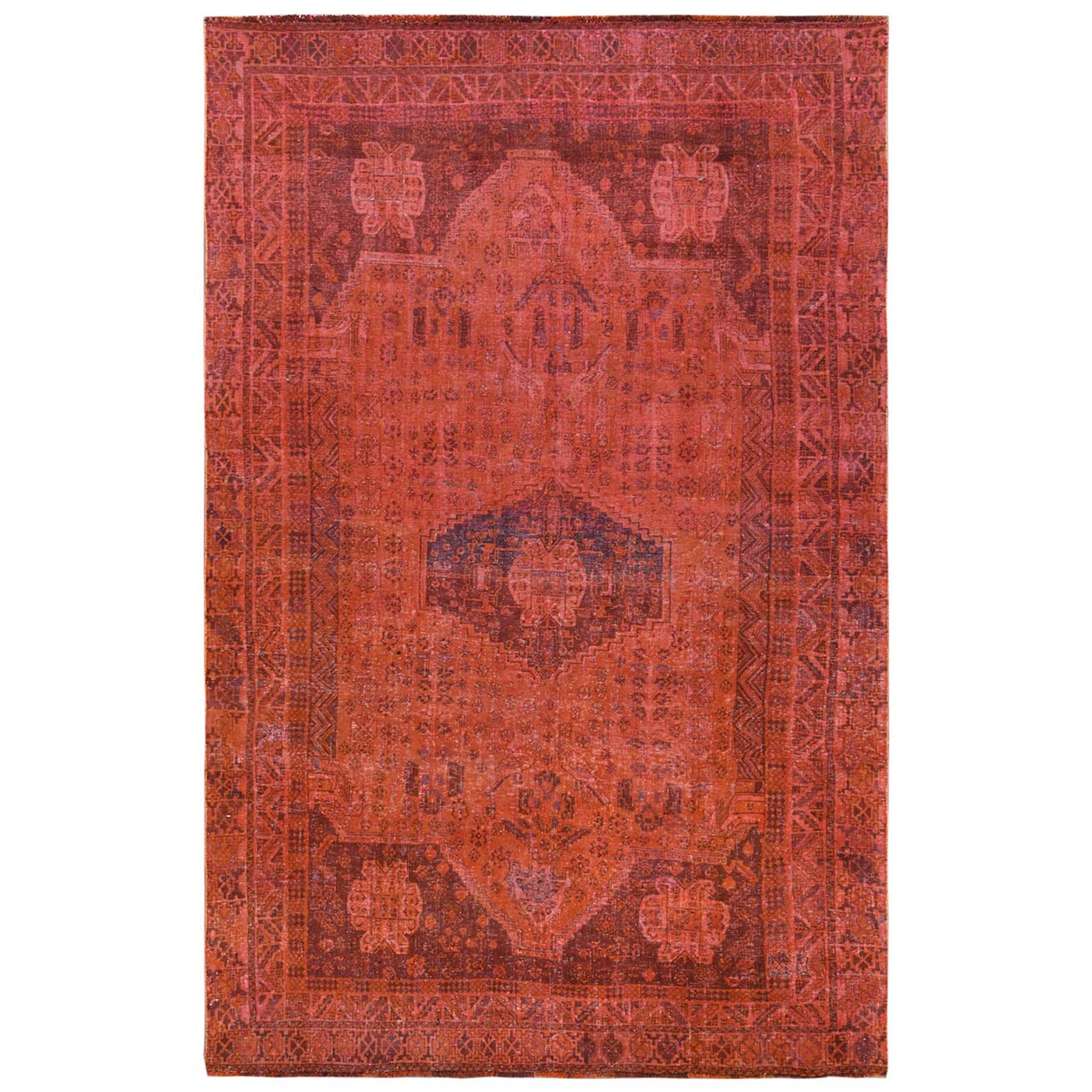 Fetneh Collection And Vintage Overdyed Collection Hand Knotted Orange Rug No: 1122130