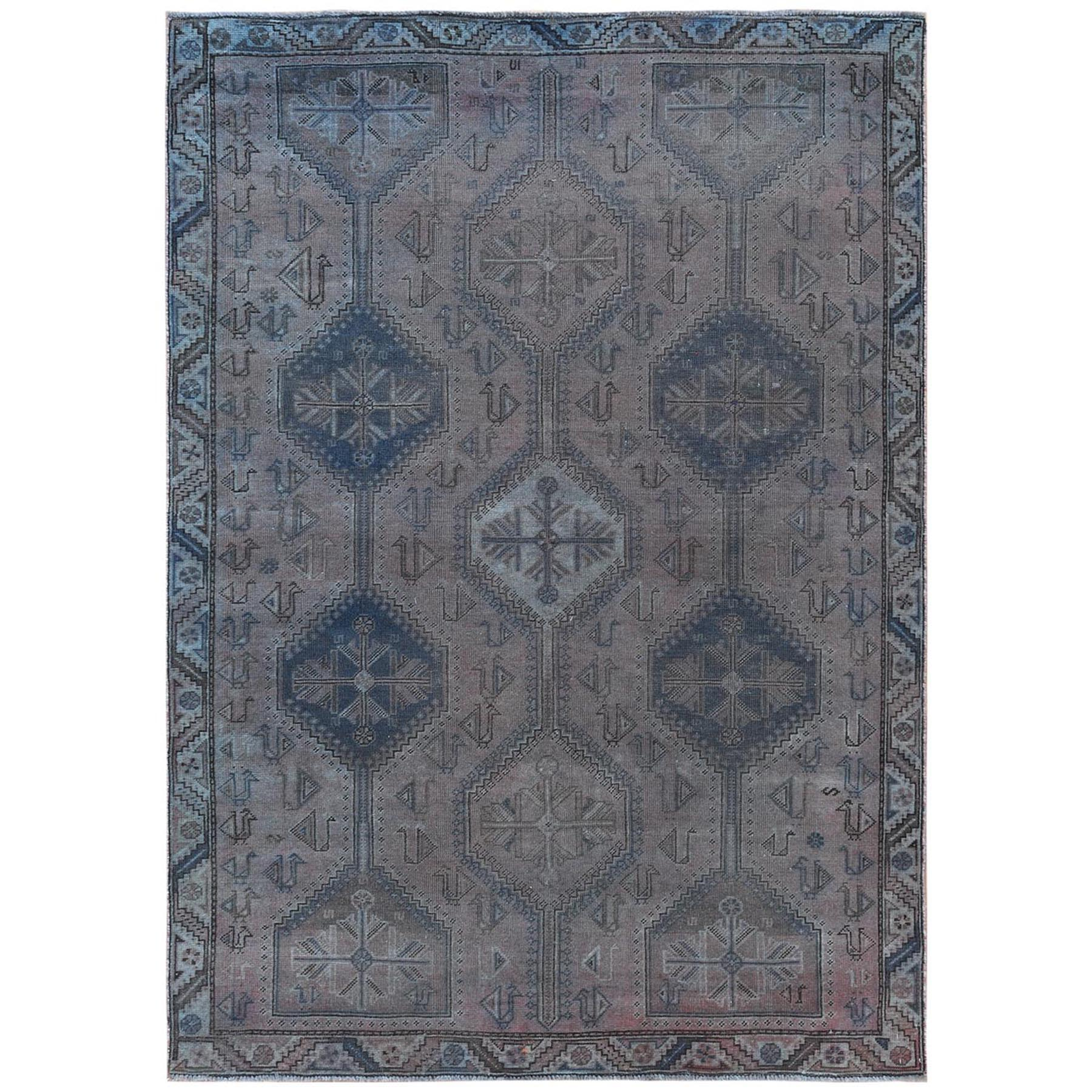 Fetneh Collection And Vintage Overdyed Collection Hand Knotted Brown Rug No: 1122132