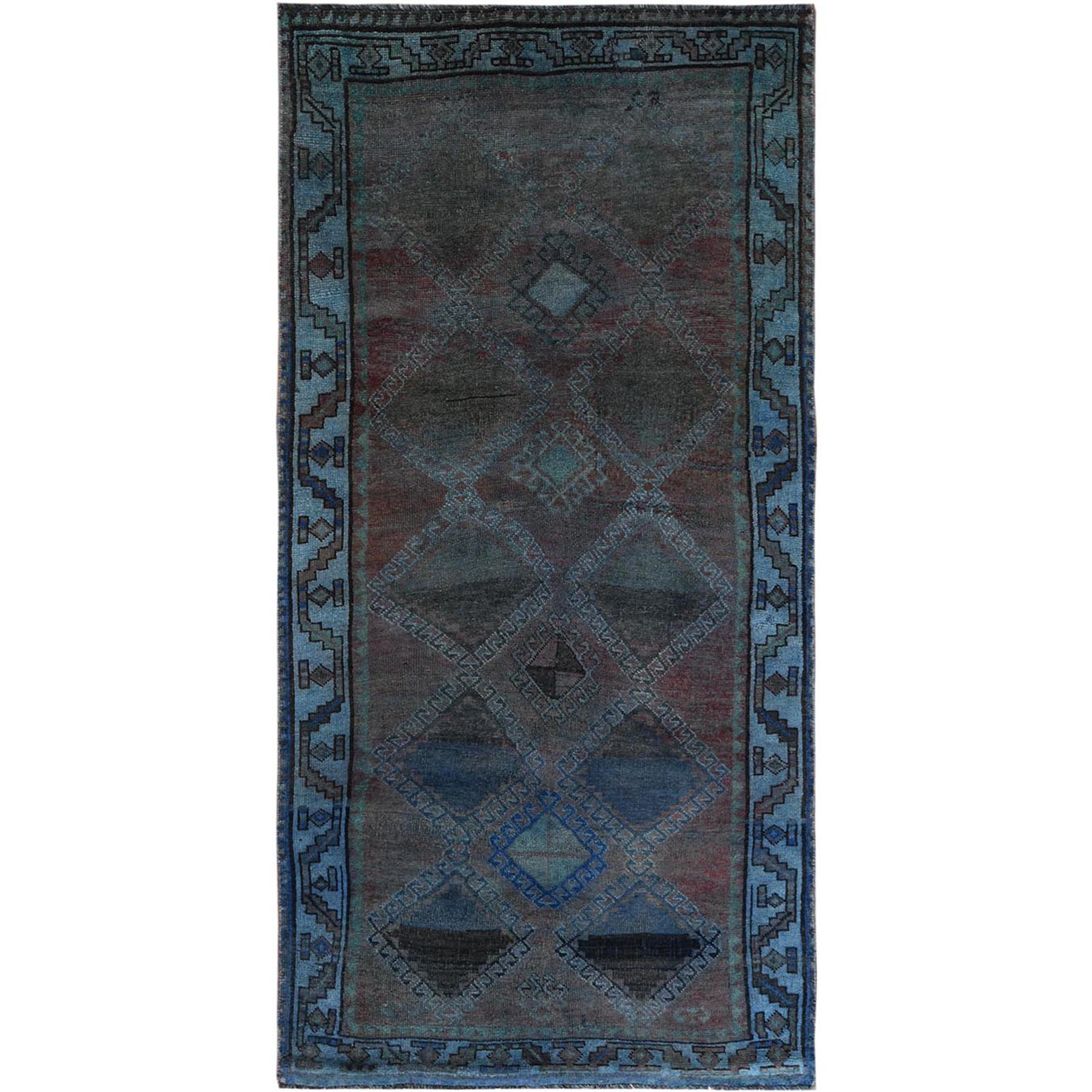 Fetneh Collection And Vintage Overdyed Collection Hand Knotted Green Rug No: 1122138