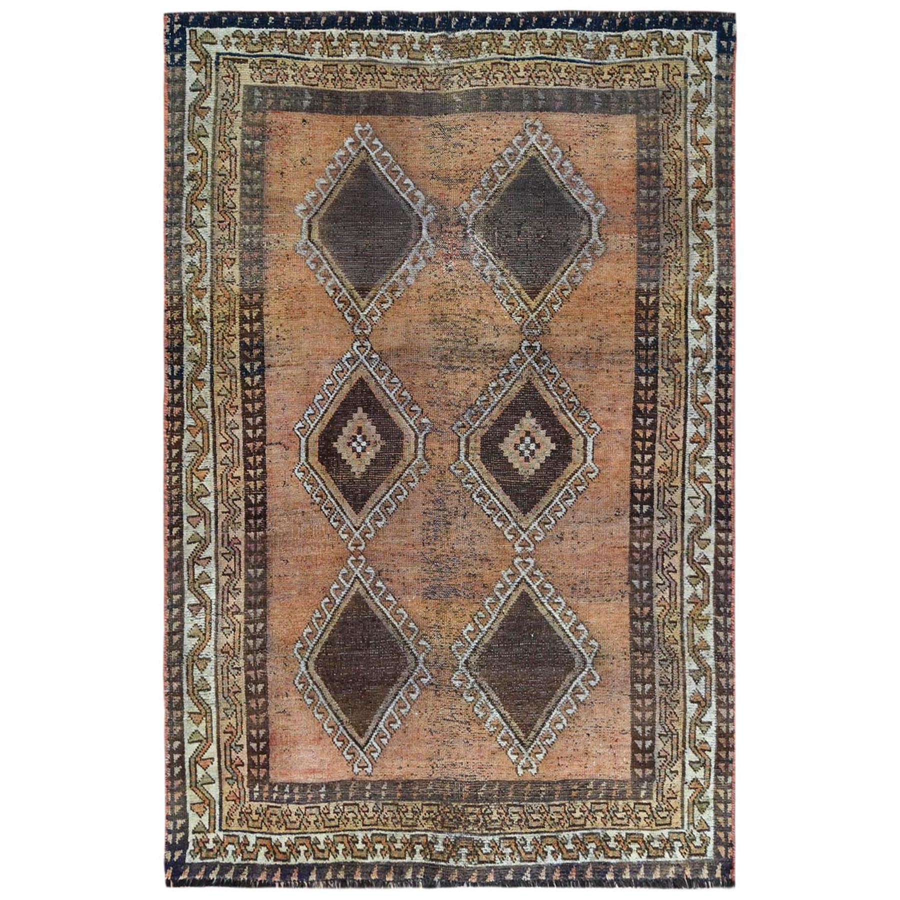 Fetneh Collection And Vintage Overdyed Collection Hand Knotted Orange Rug No: 1122152