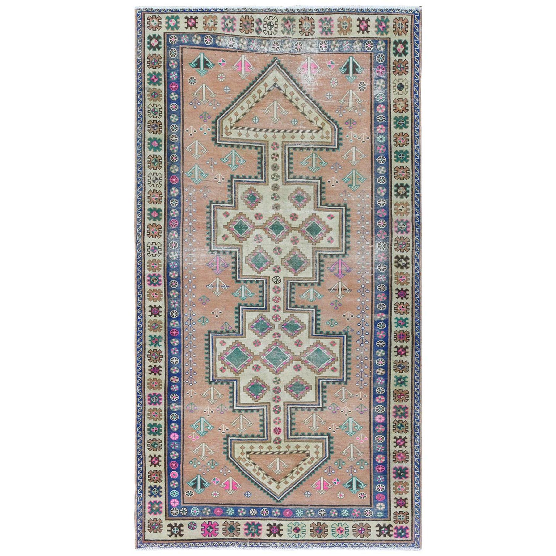 Fetneh Collection And Vintage Overdyed Collection Hand Knotted Orange Rug No: 1122164