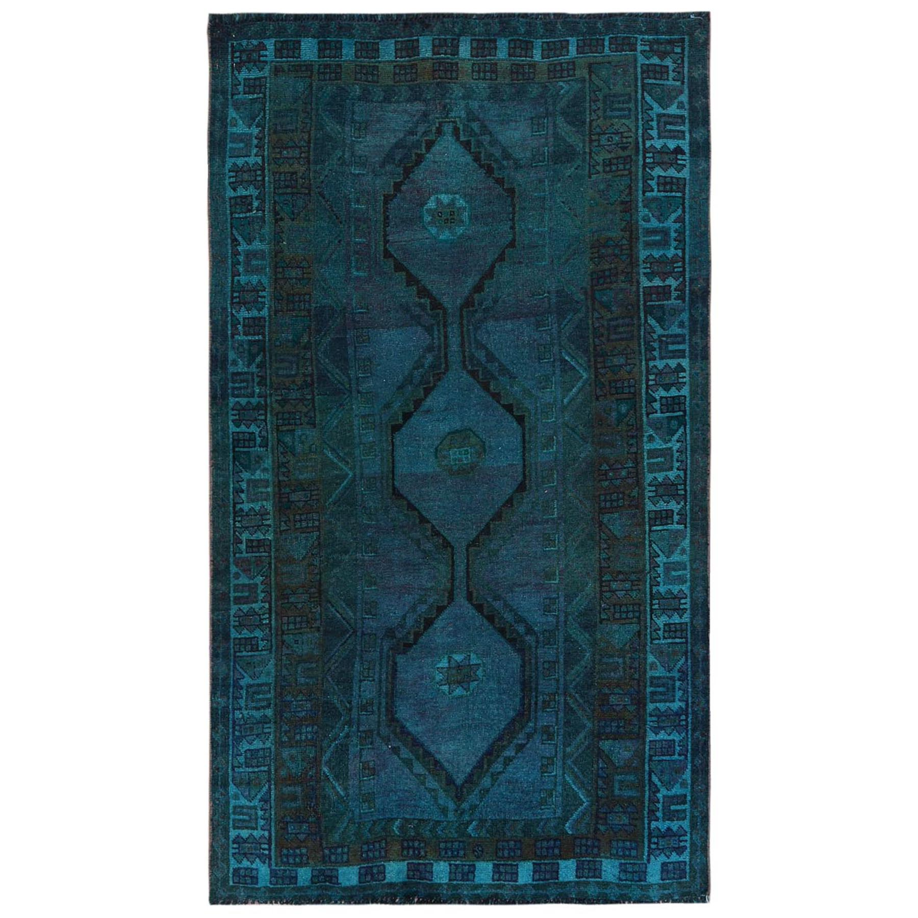 Fetneh Collection And Vintage Overdyed Collection Hand Knotted Teal Rug No: 1122168
