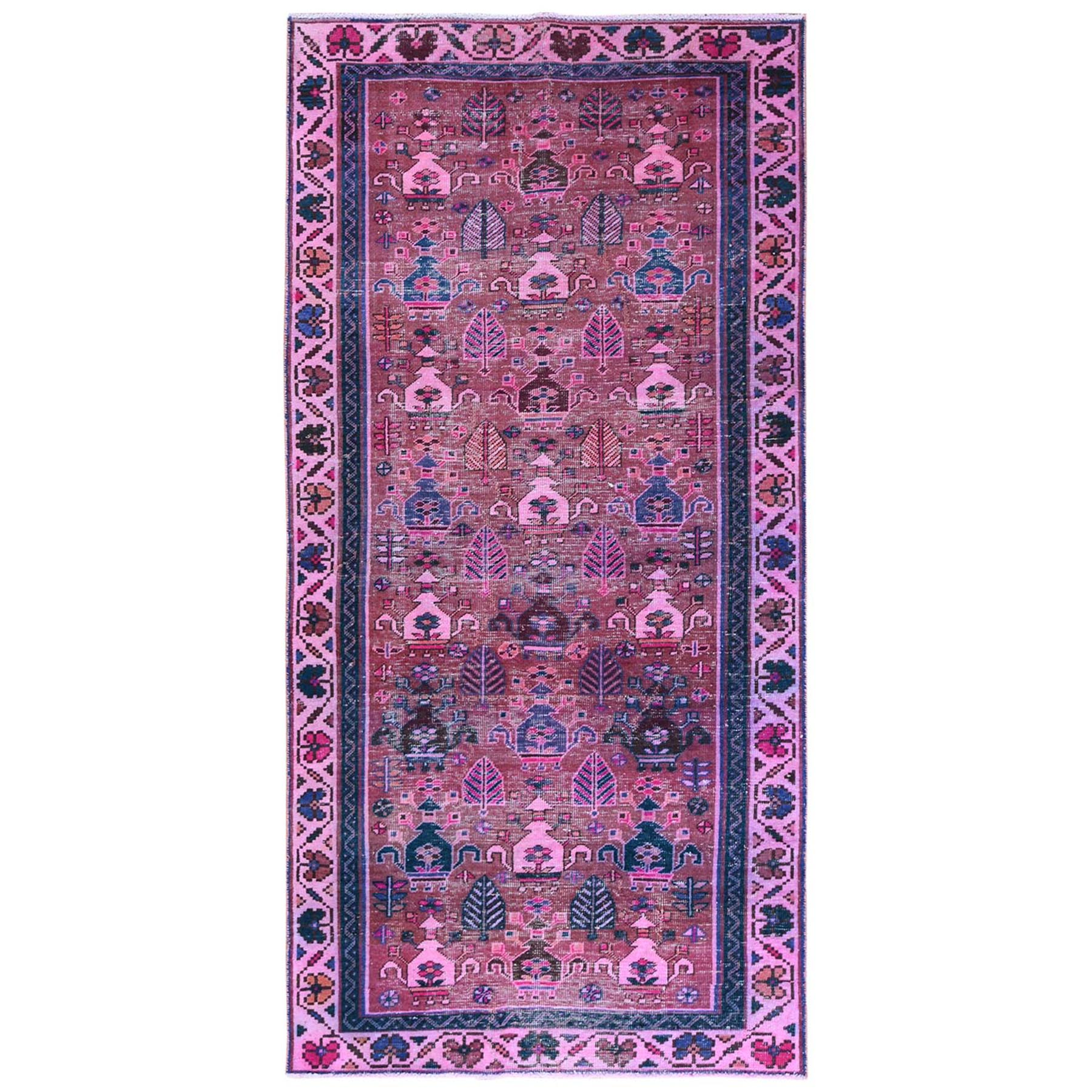 Fetneh Collection And Vintage Overdyed Collection Hand Knotted Pink Rug No: 1122178