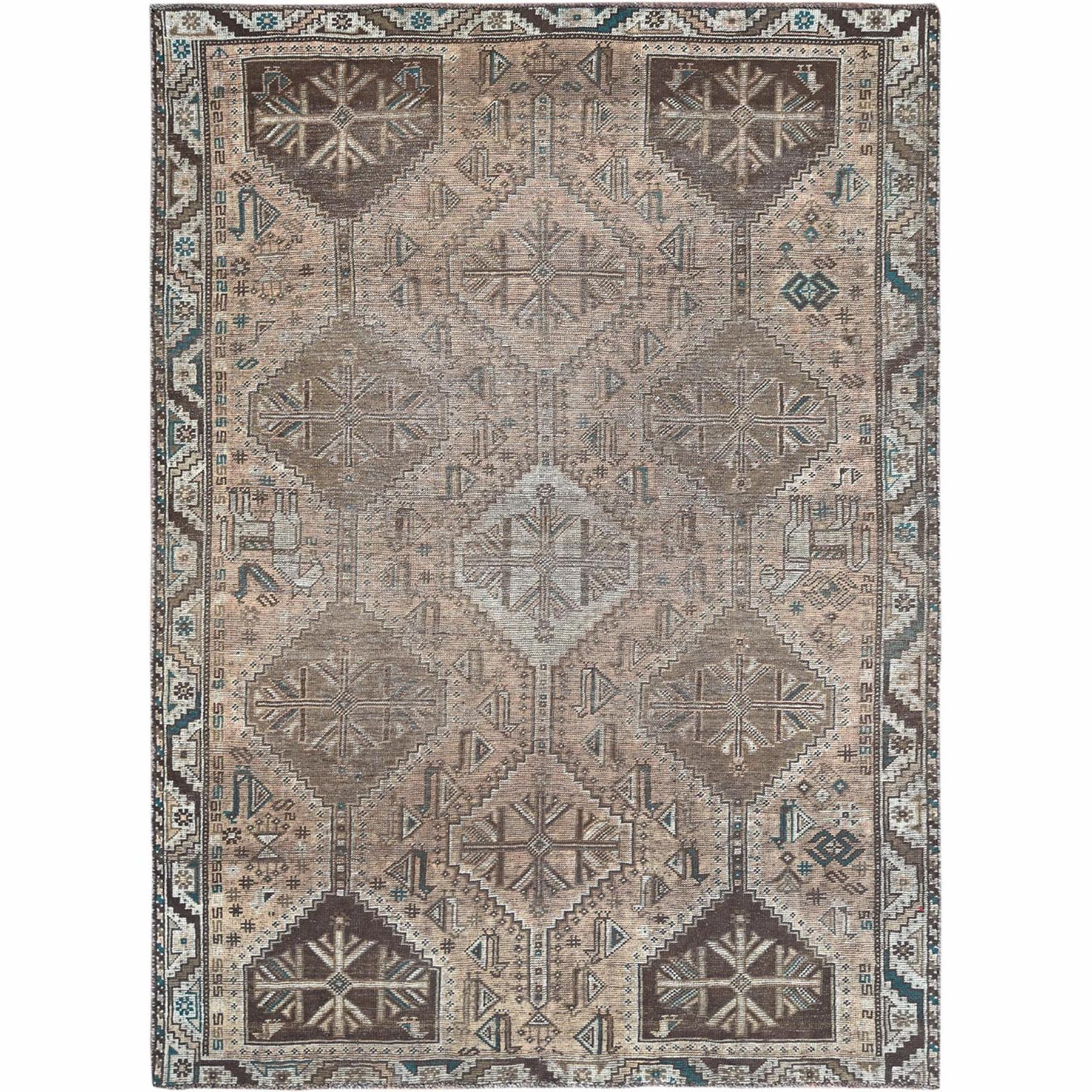 Fetneh Collection And Vintage Overdyed Collection Hand Knotted Brown Rug No: 1122230
