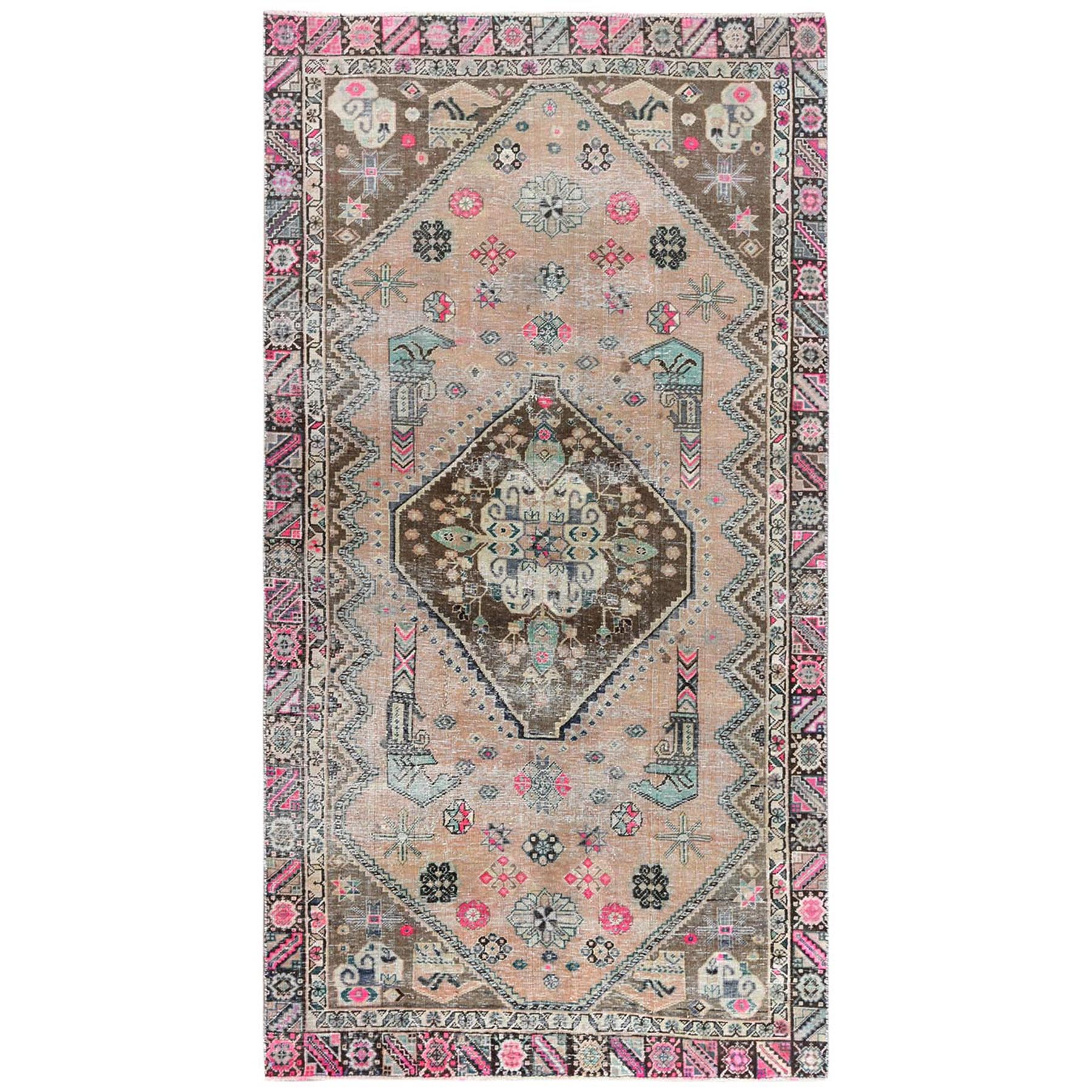 Fetneh Collection And Vintage Overdyed Collection Hand Knotted Orange Rug No: 1122234