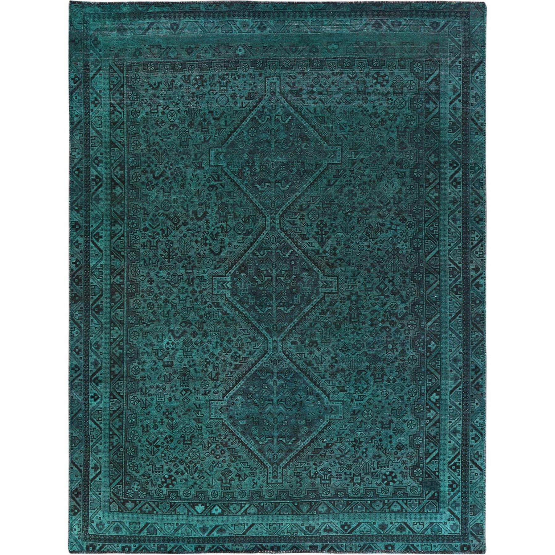 Fetneh Collection And Vintage Overdyed Collection Hand Knotted Green Rug No: 1122238