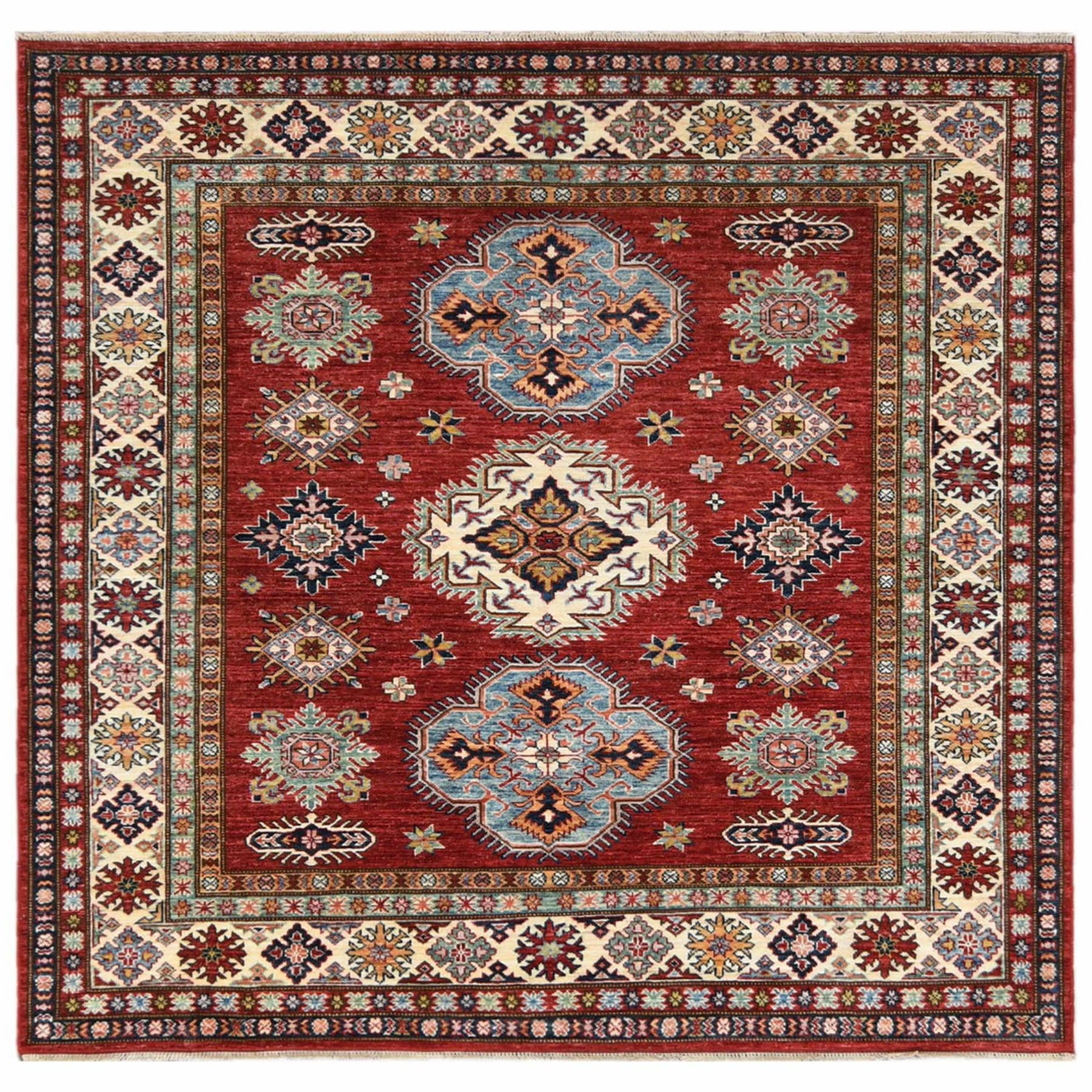 Caucasian Collection Hand Knotted Red Rug No: 1122348