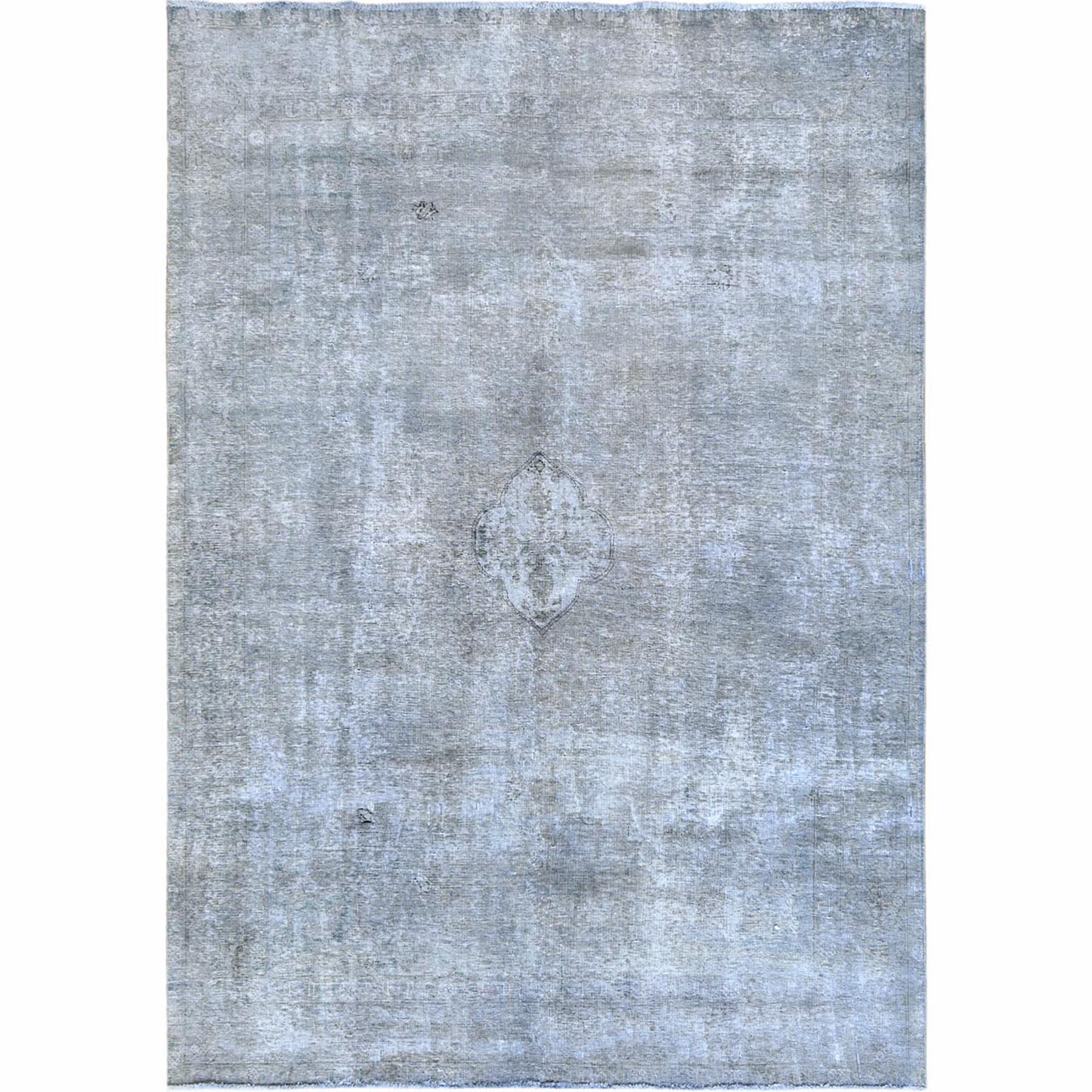 Fetneh Collection And Vintage Overdyed Collection Hand Knotted Grey Rug No: 1122406