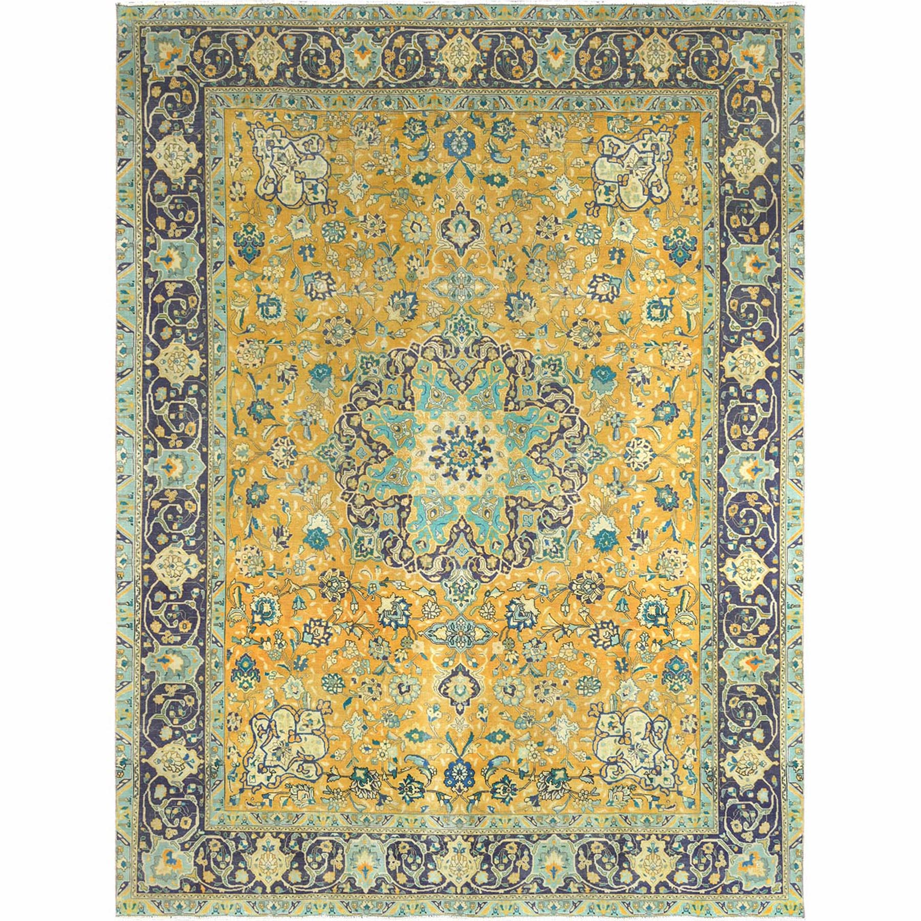 Fetneh Collection And Vintage Overdyed Collection Hand Knotted Yellow Rug No: 1122410