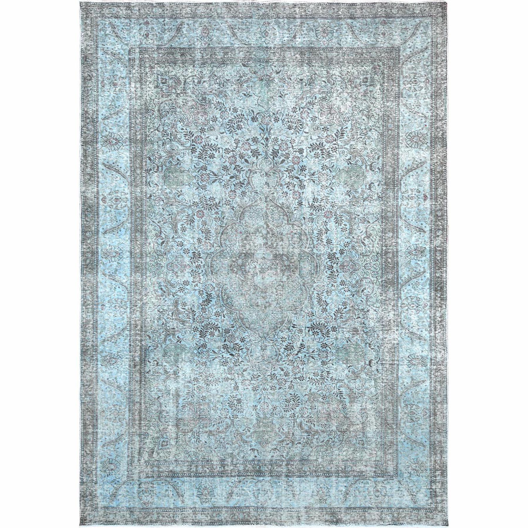 Fetneh Collection And Vintage Overdyed Collection Hand Knotted Blue Rug No: 1122418
