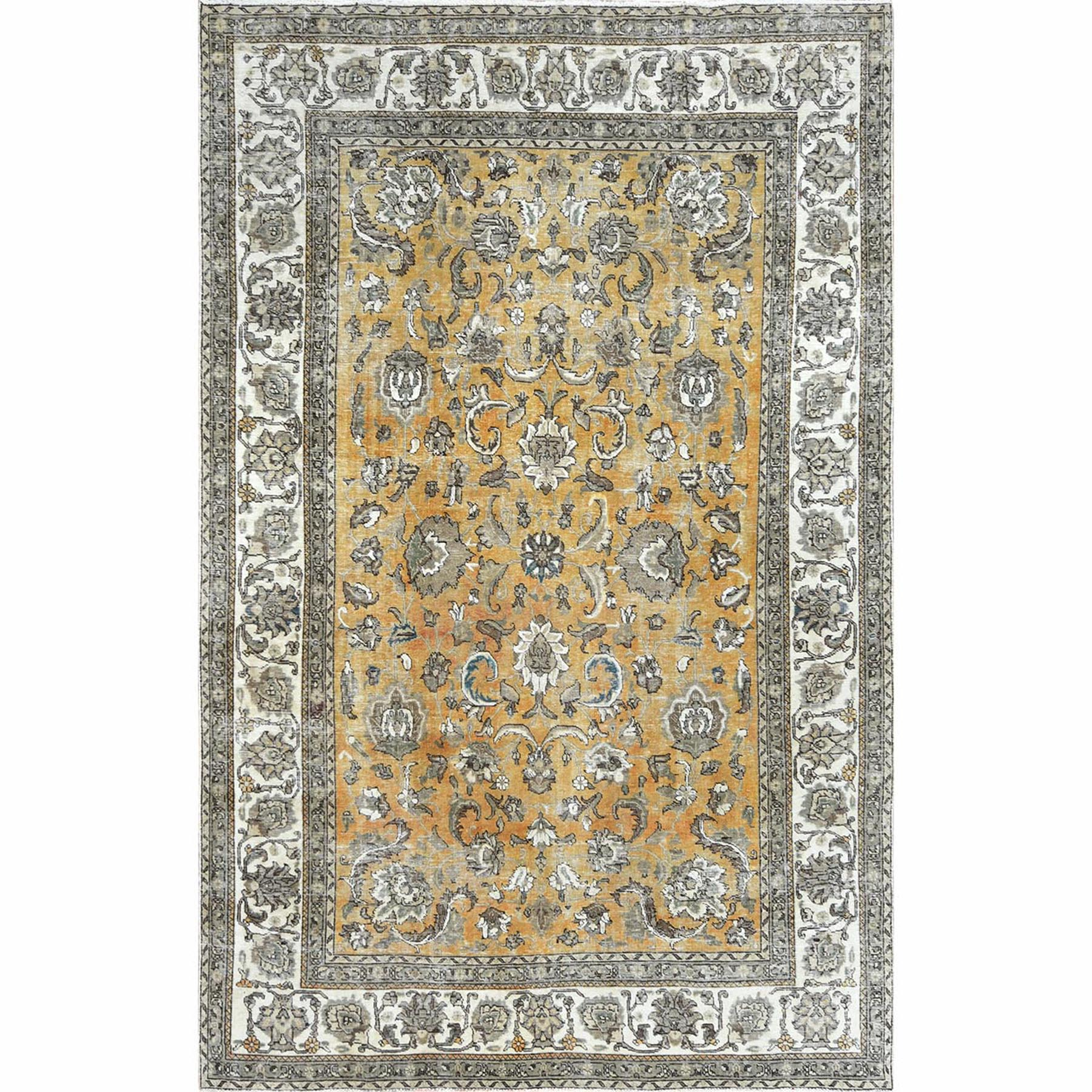 Fetneh Collection And Vintage Overdyed Collection Hand Knotted Yellow Rug No: 1122422