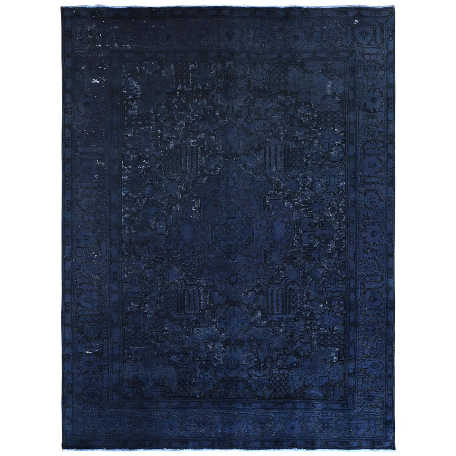 Fetneh Collection And Vintage Overdyed Collection Hand Knotted Blue Rug No: 1122434