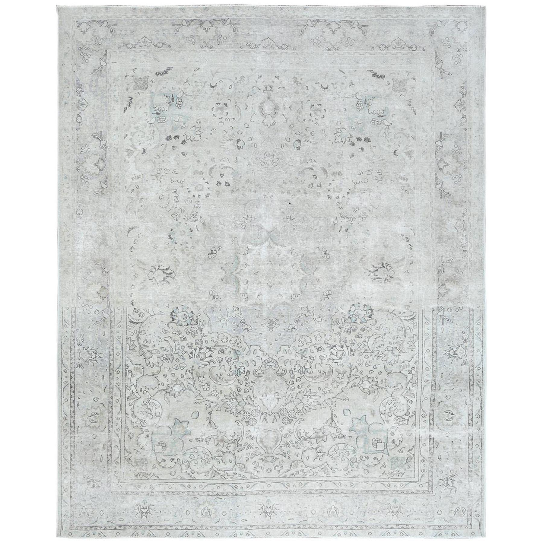 Fetneh Collection And Vintage Overdyed Collection Hand Knotted Grey Rug No: 1122454